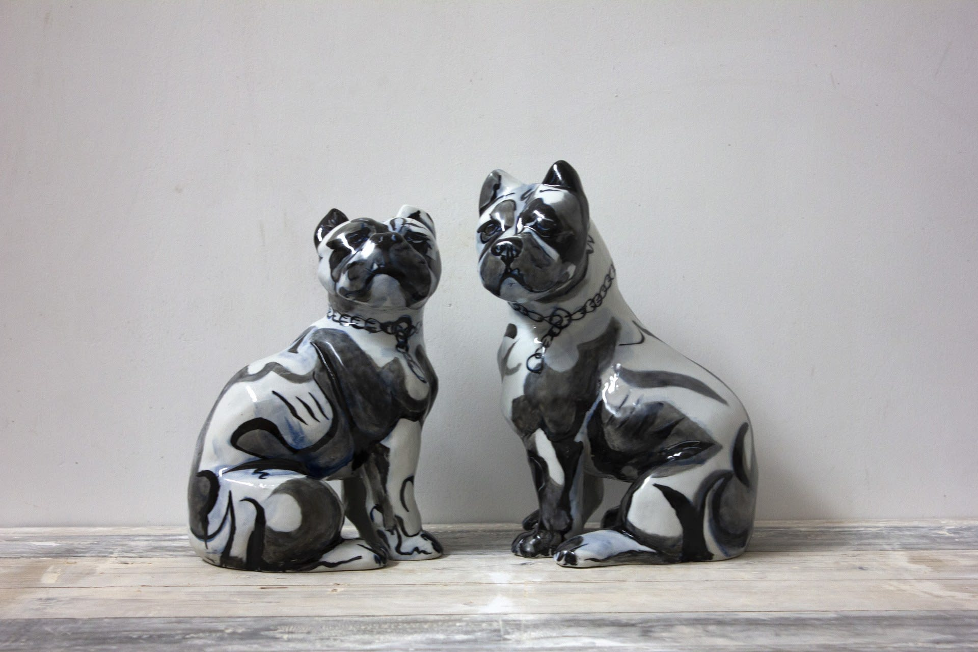 Enamel Staffie Pair