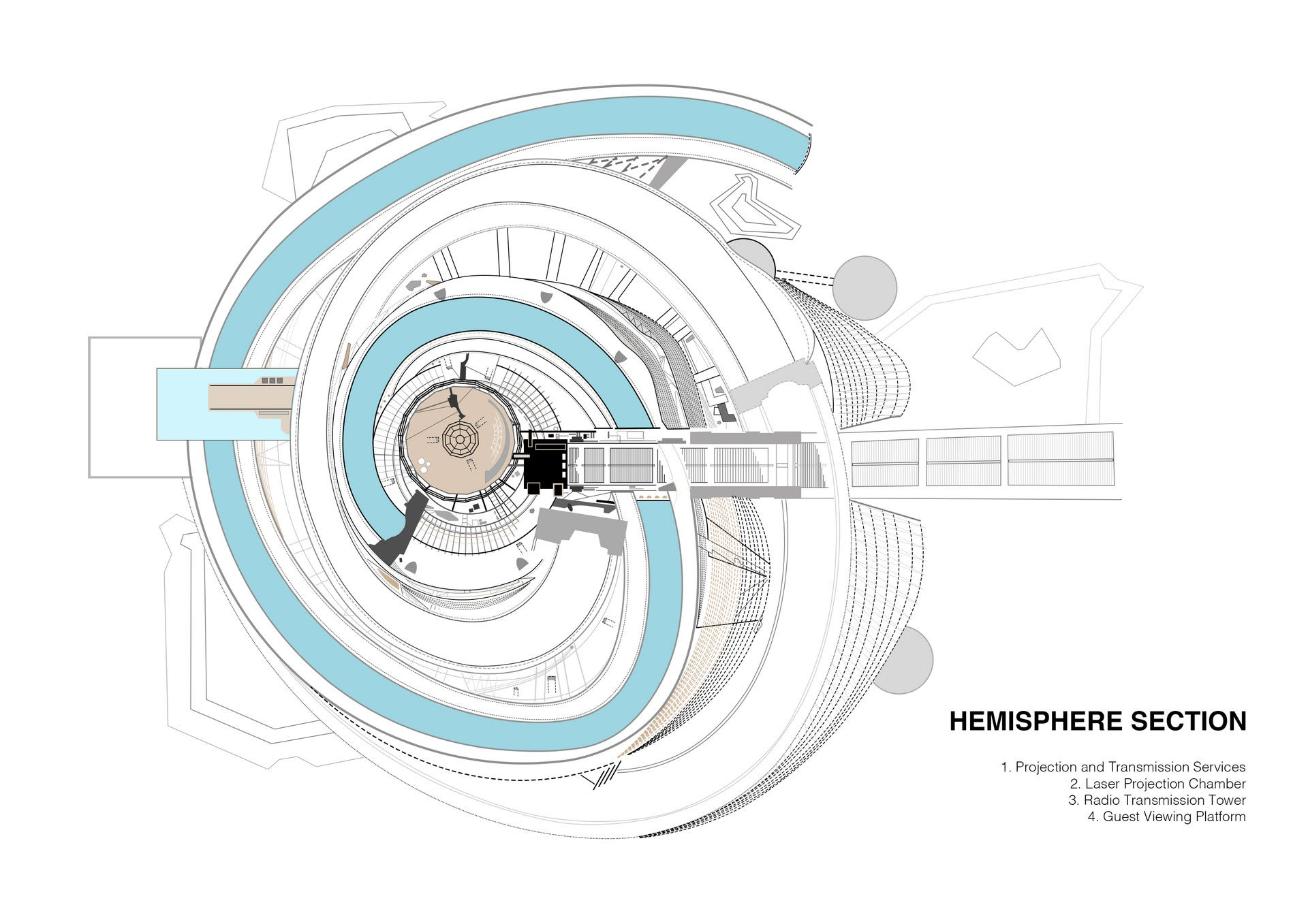Lacuna Tower - Hemisphere Section Floor Plan