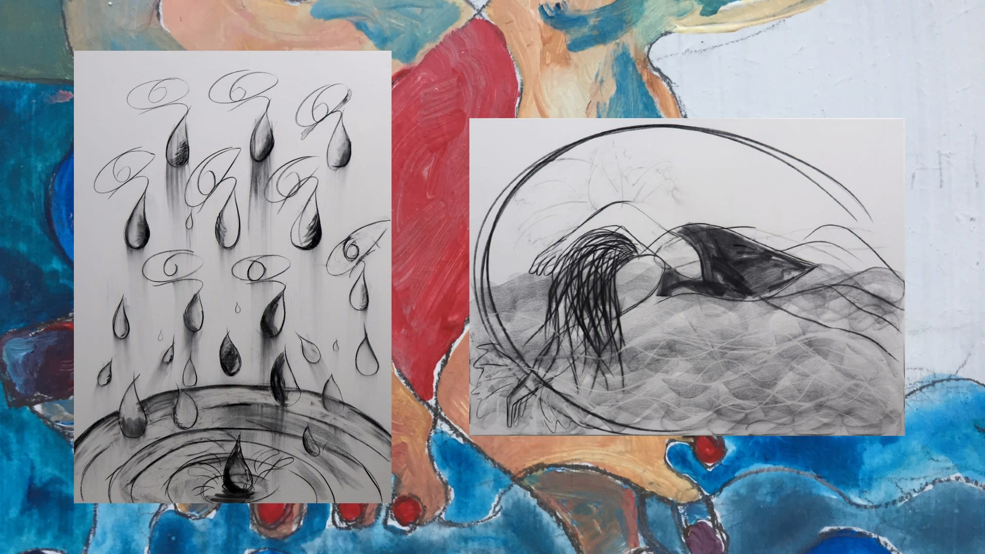 (Left) Tears to the River, (Right) The Swimmer, (Background) Two Toes