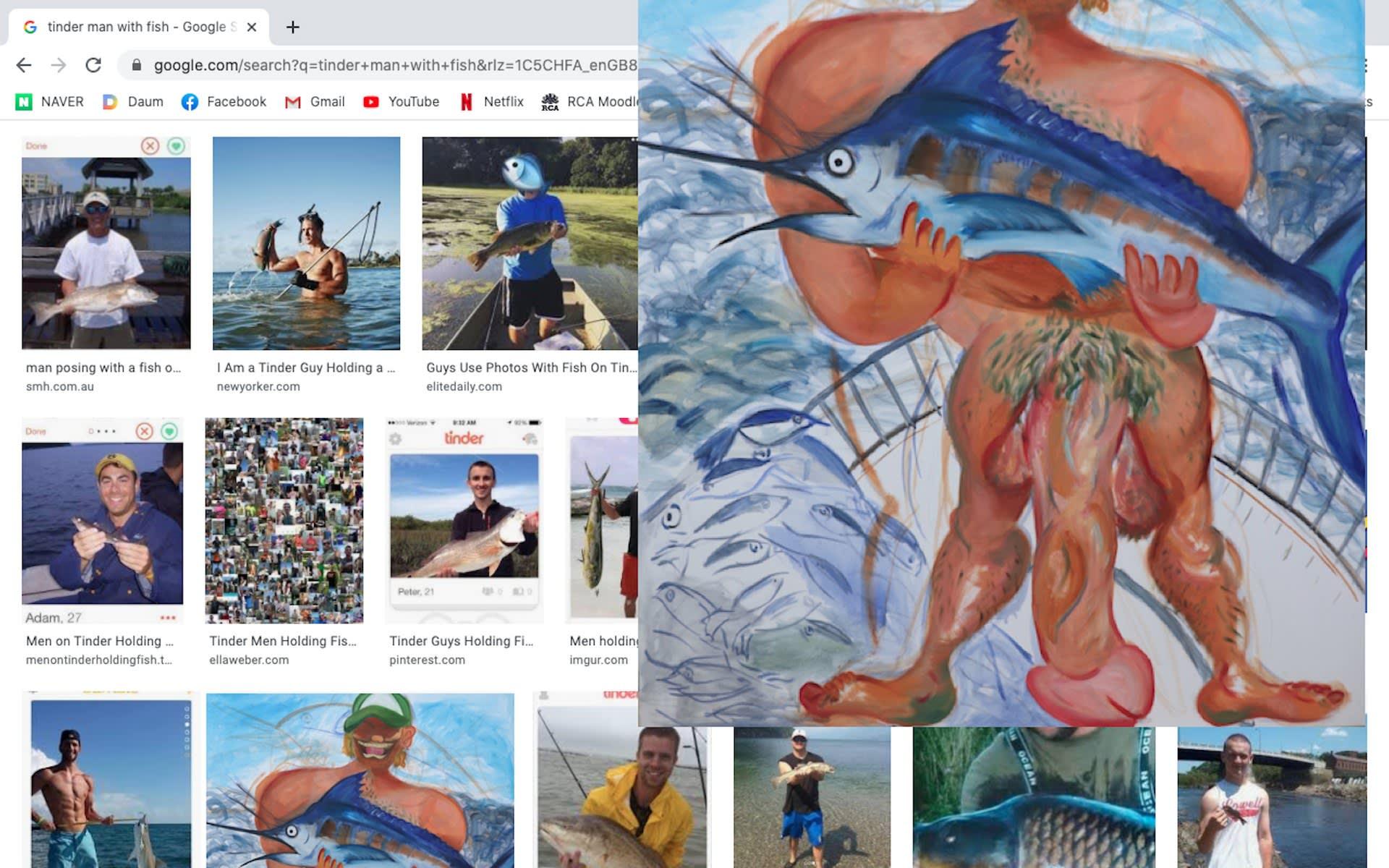 Screenshot: tinder man with fish