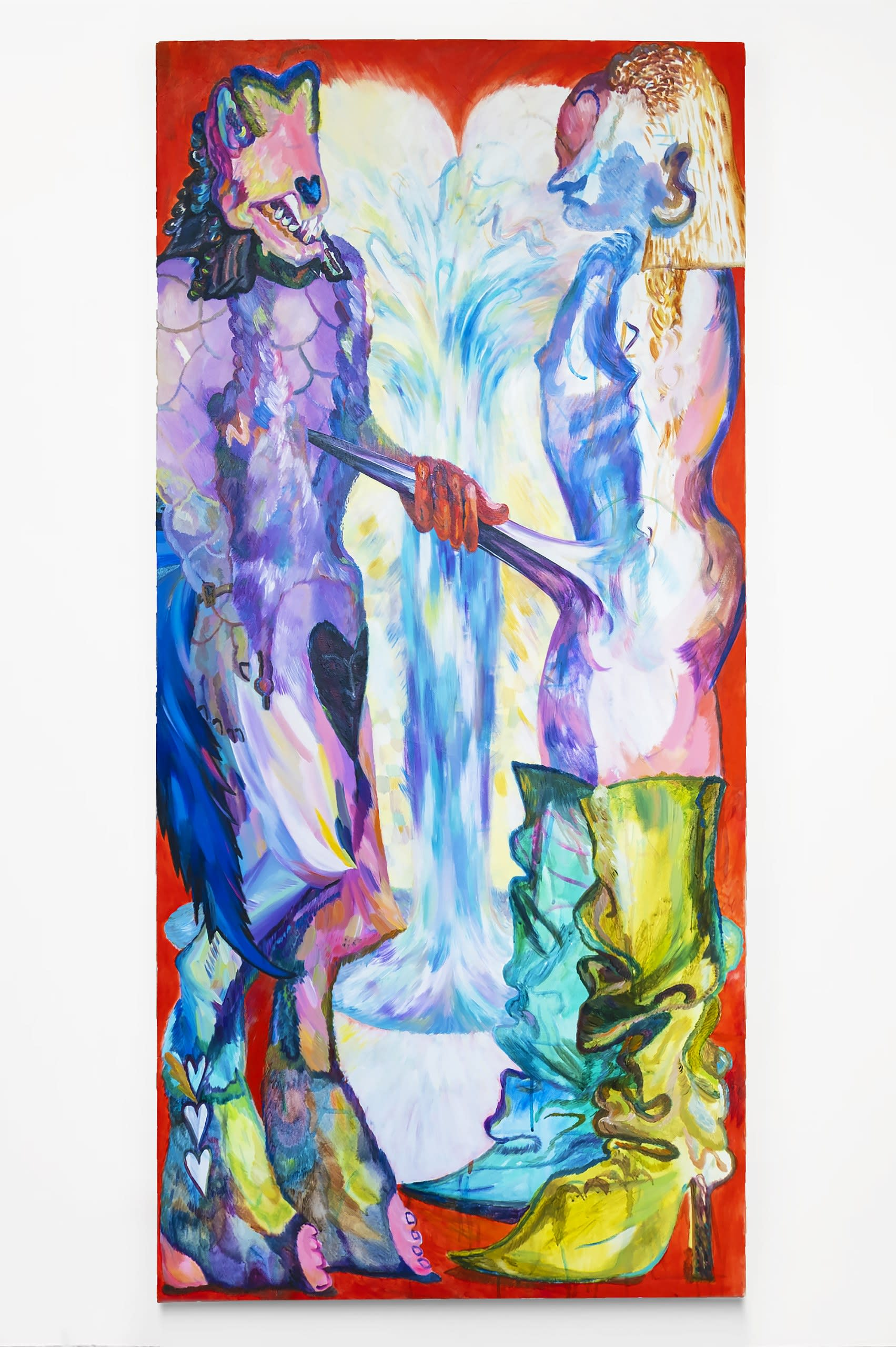 Spear of Longinus, 2020, oil and acrylic on canvas, 163 x 78 cm