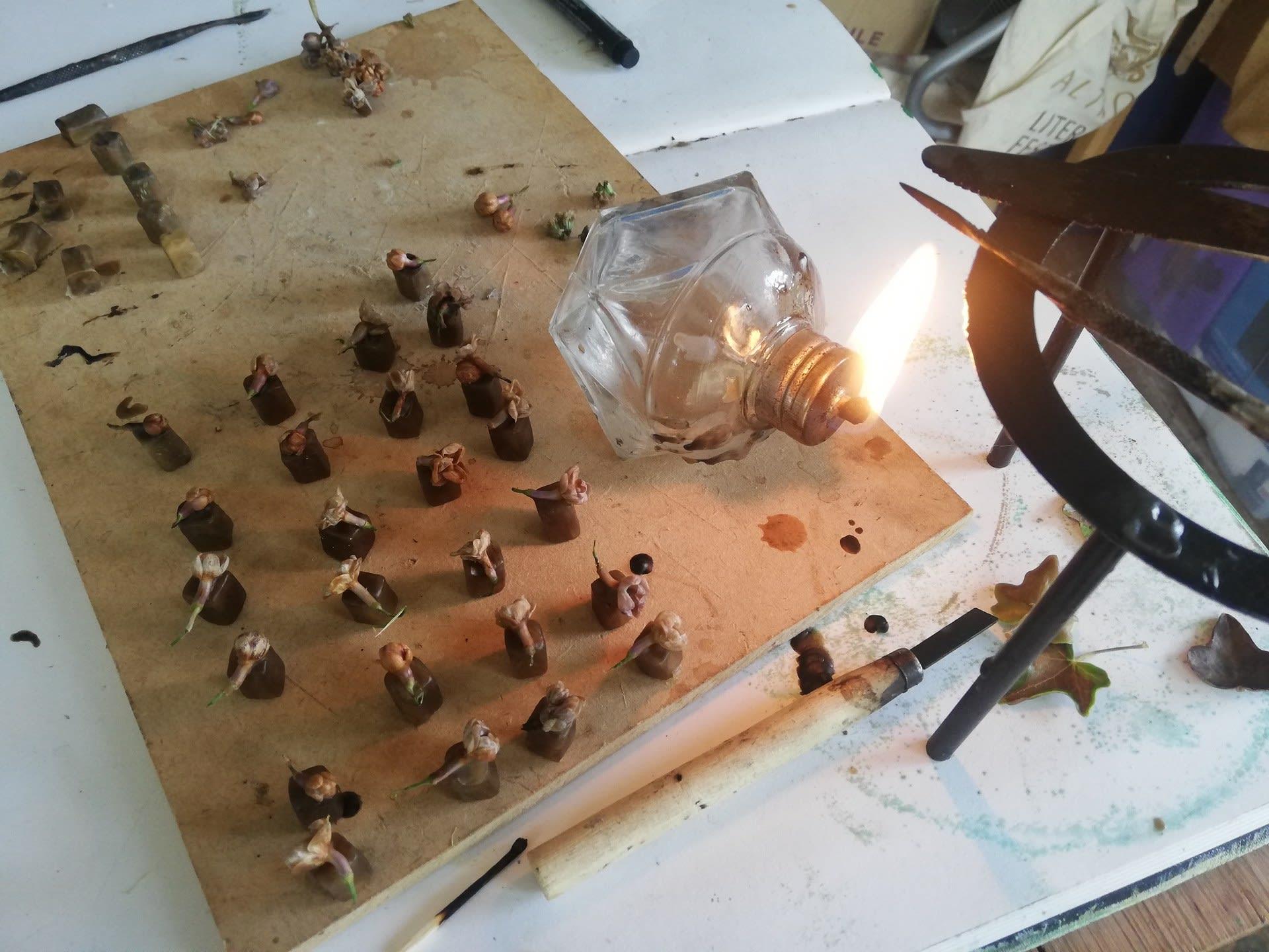 Wax working in the studio