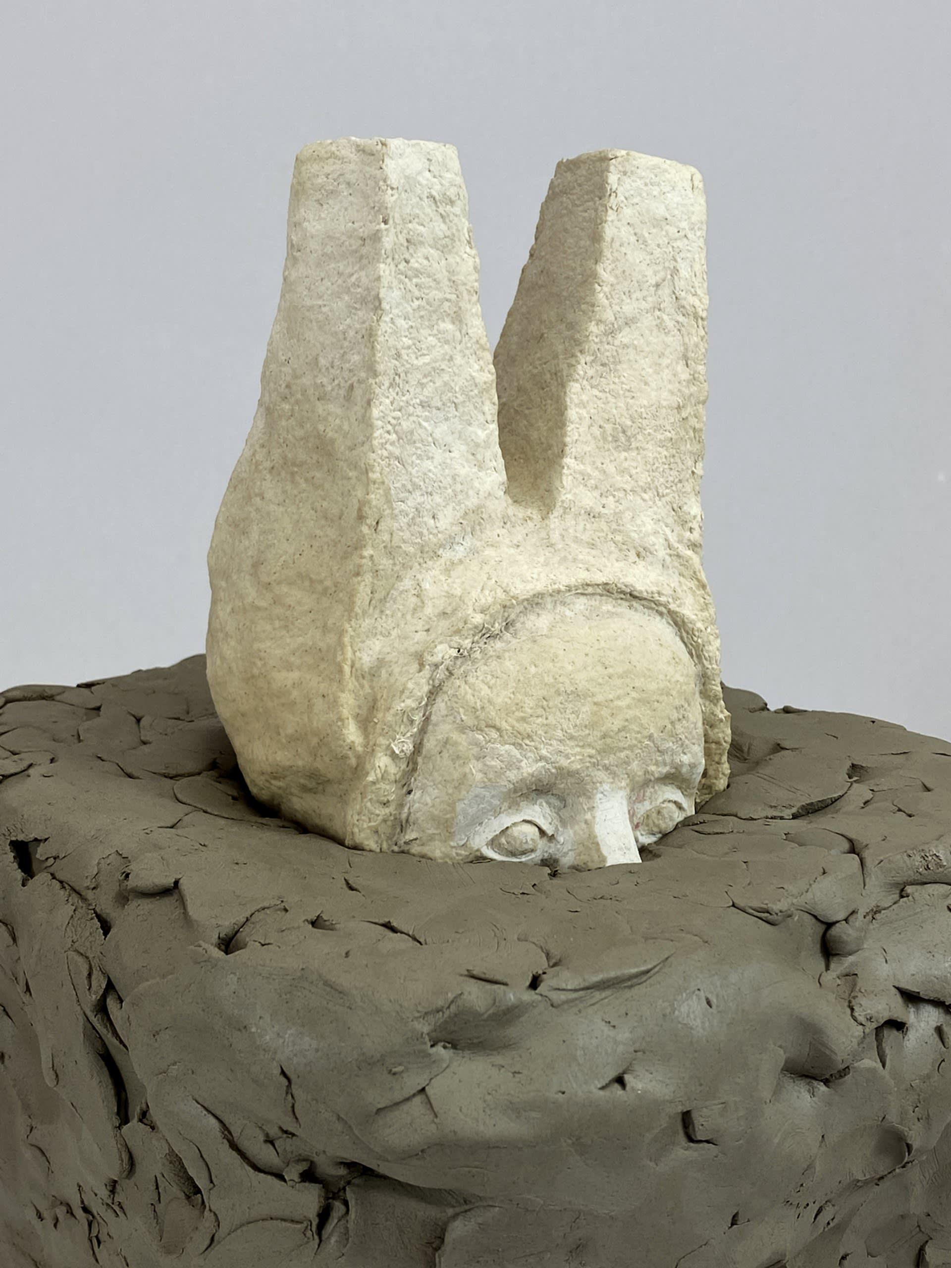 Monumental sphinx _ paper mache, raw clay
