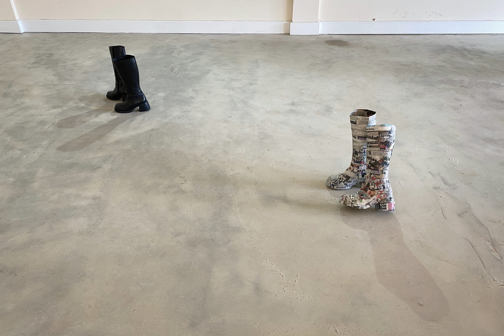 Boots _ paper mache mould, actual boots