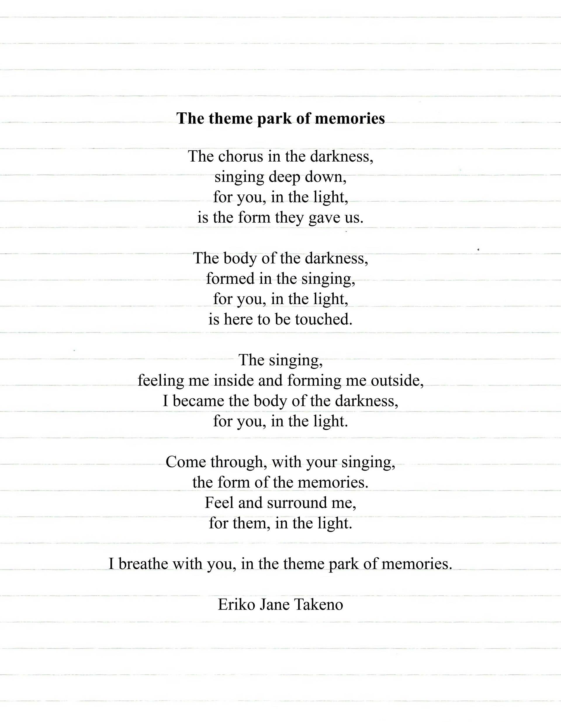 'The Theme Park of Memories' by Eriko Jane Takeno, 2020