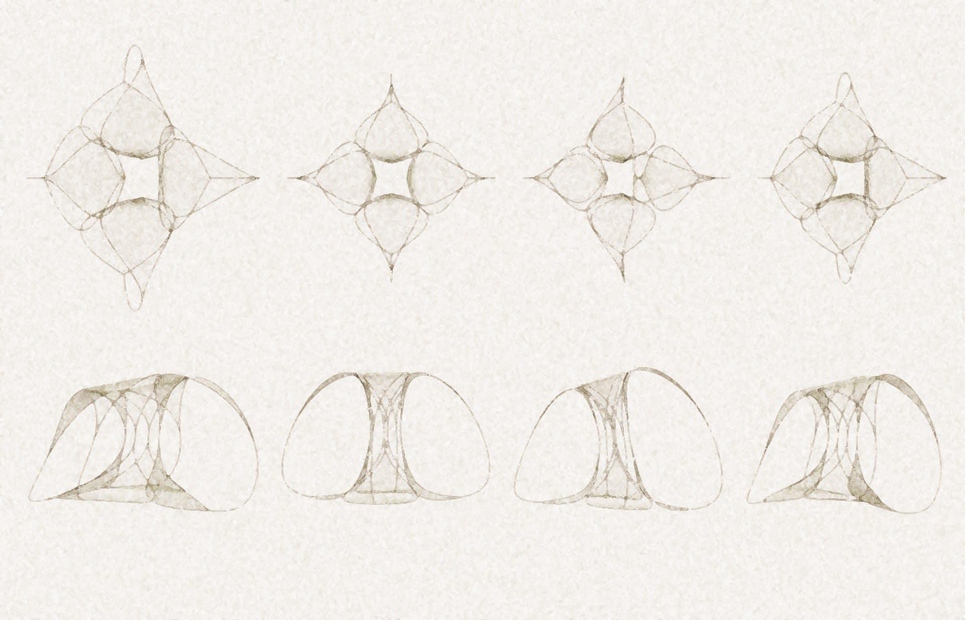 a digital sketch for mobile sculptures