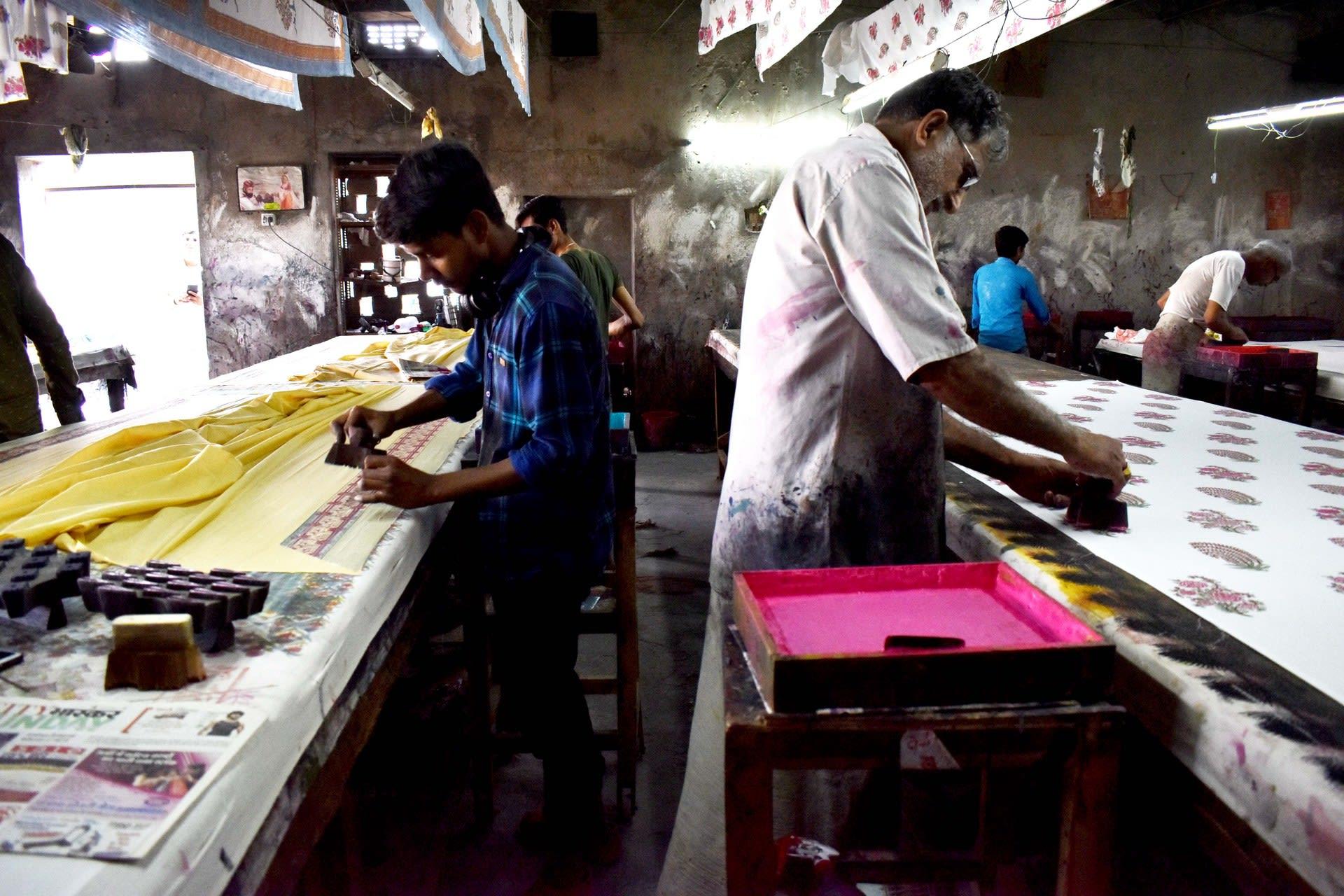 Block printers in their 'kaarkhana' / workshop