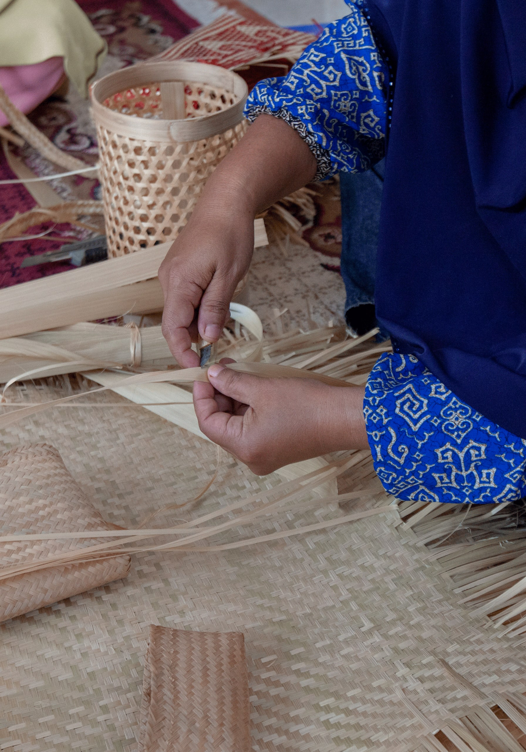 Baskets and mats made of bamboo, Tasikmalaya