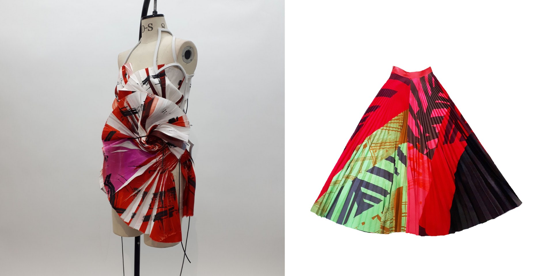 Screen printed dress and skirt