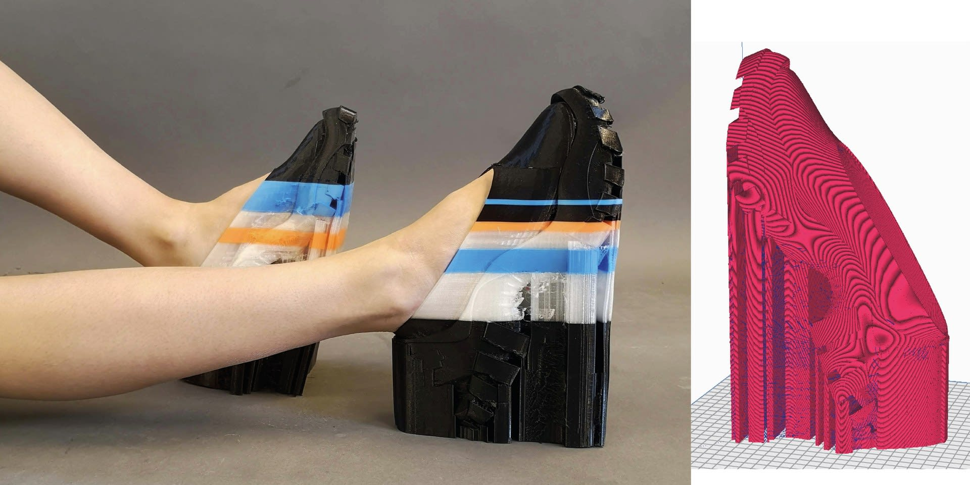 Multi-color 3D Printed TPU, playful and flexible spring structure