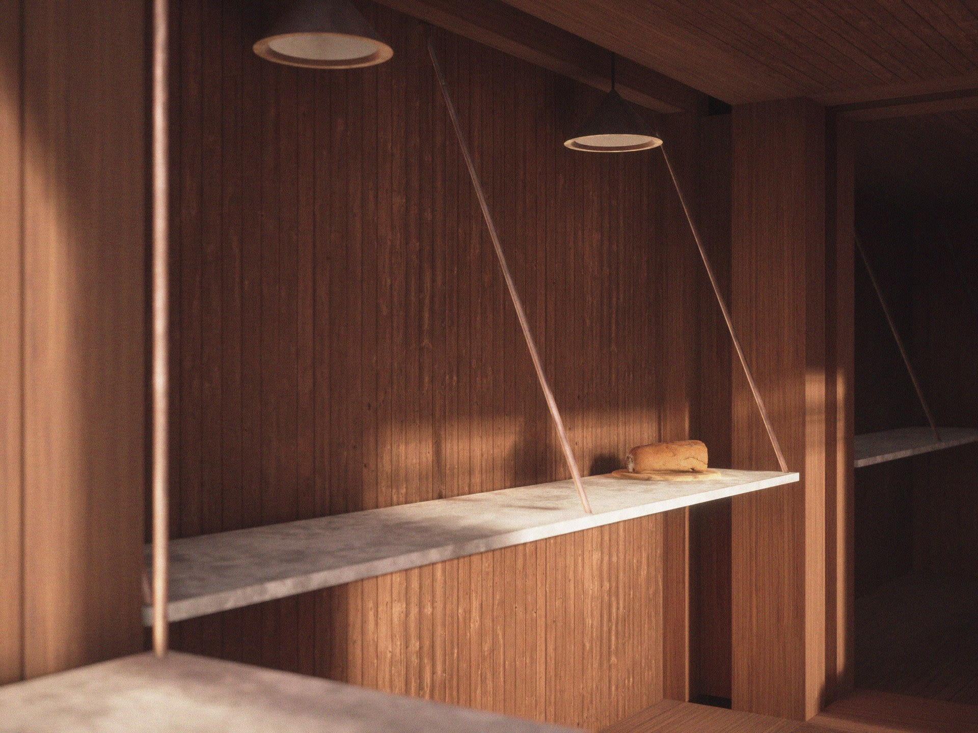 The copper wires and thin white counter create a tension sitting next to the large vertical structural elements