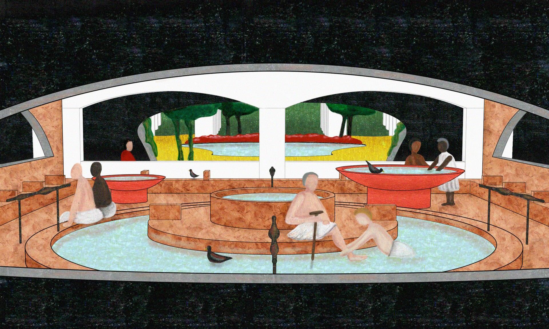 Baths: Washing Feet - Coloured pencil and oil stick on digital print (29.7 x 20 cm)*