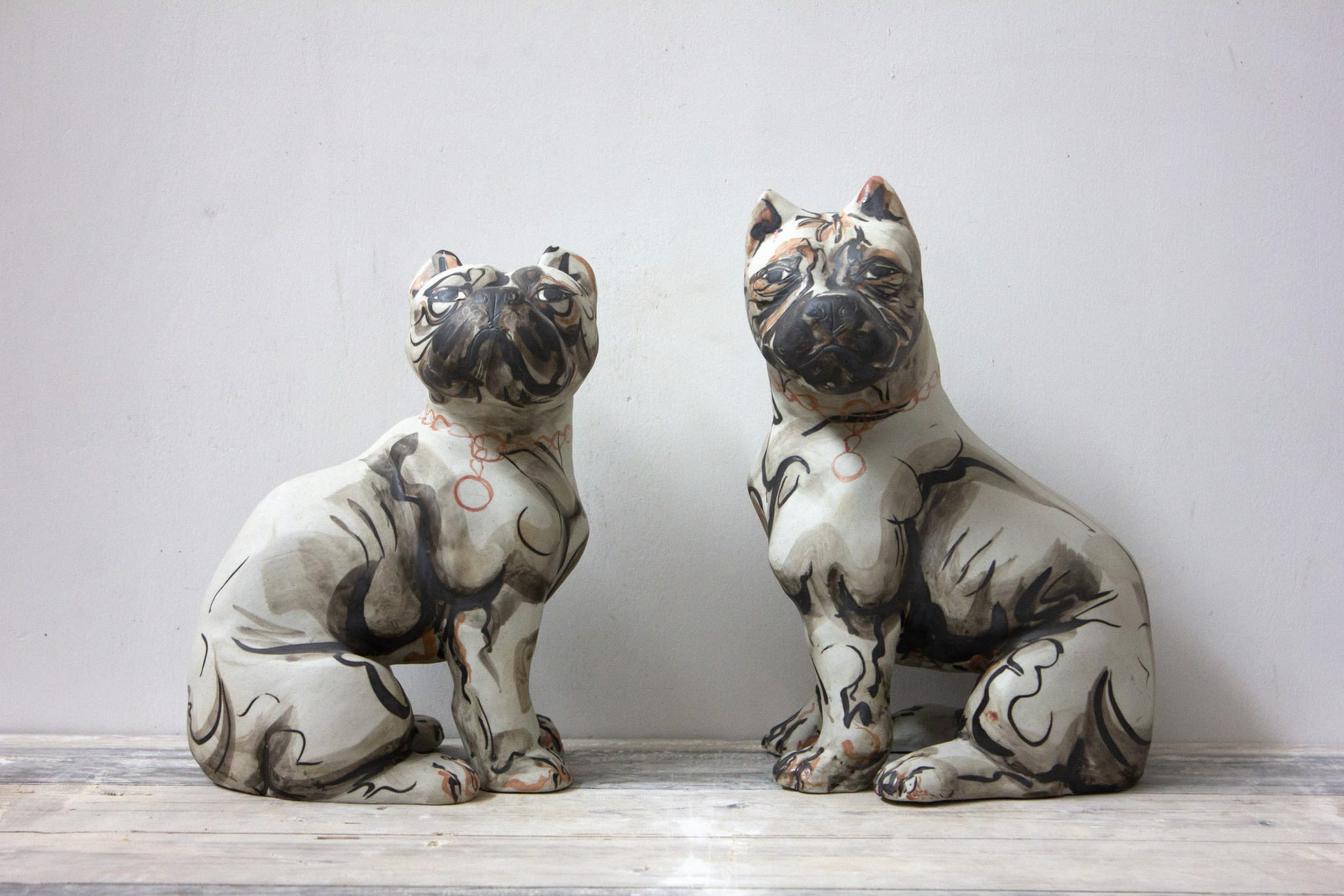 Sgraffito Staffie Pair