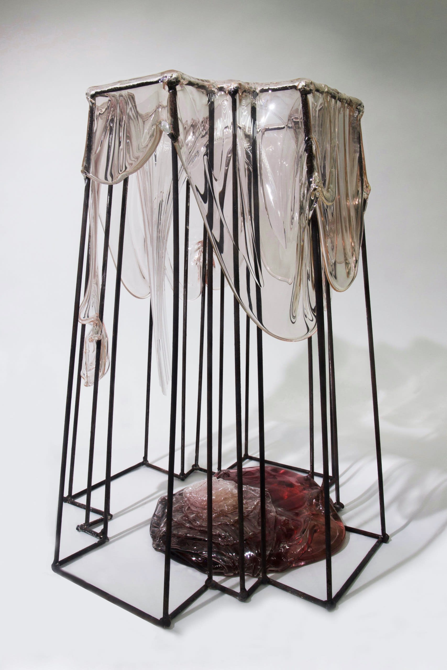 'Cross-examination' — Kiln-formed glass and welded steel rod — 100 x 35 x 35 cm
