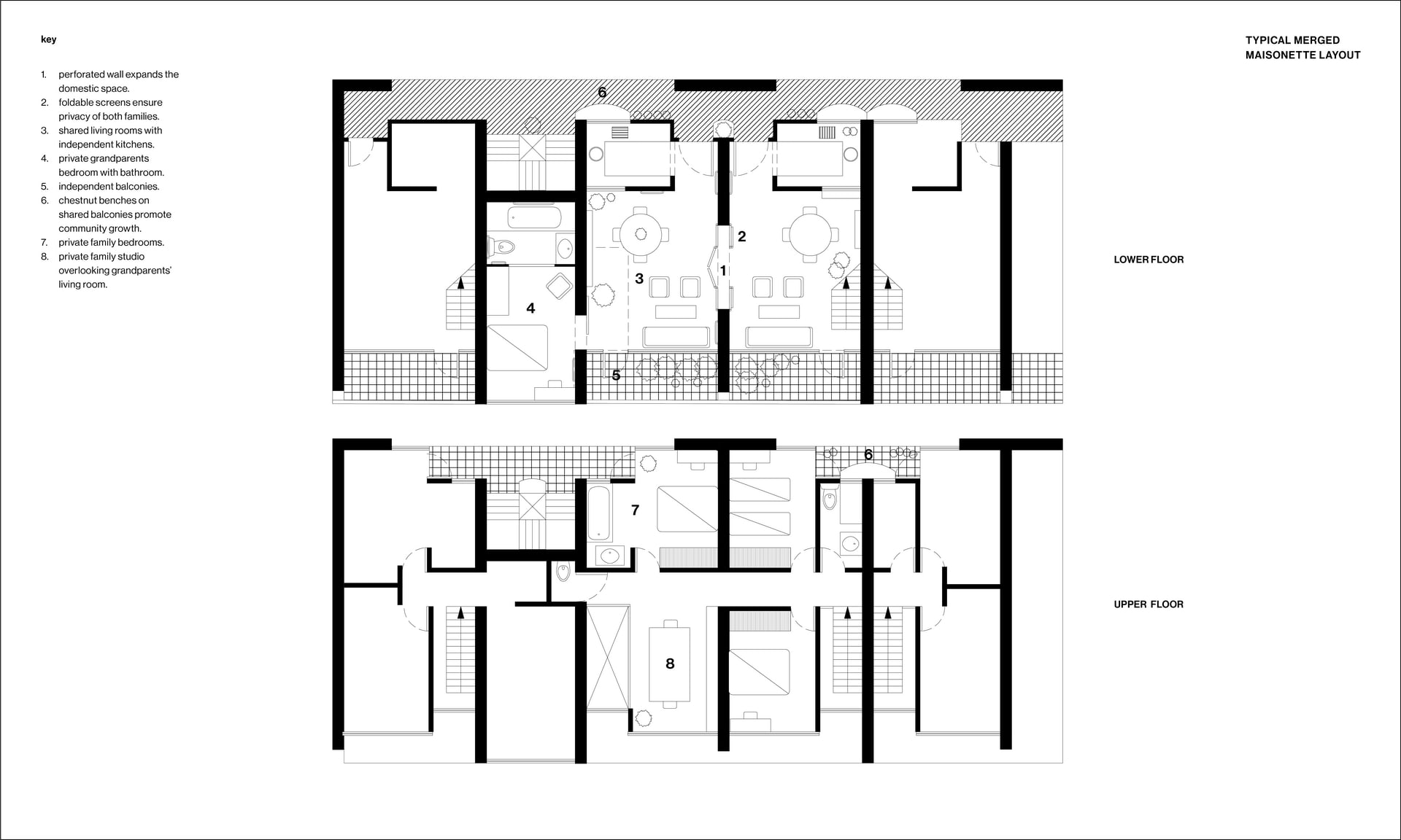 Maisonettes: Typical Merged Layout - Digital drawing