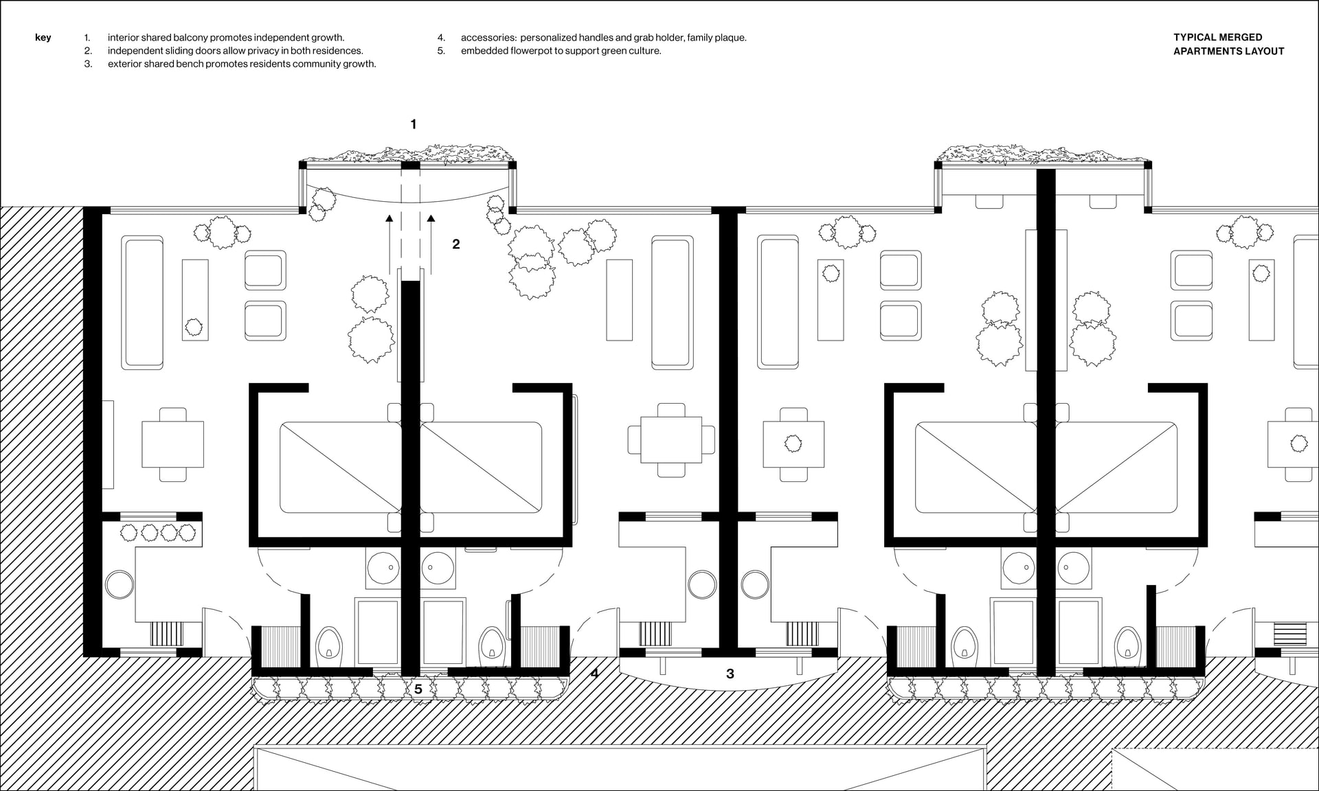 Crescent House Apartments: Typical Merged Layout - Digital drawing