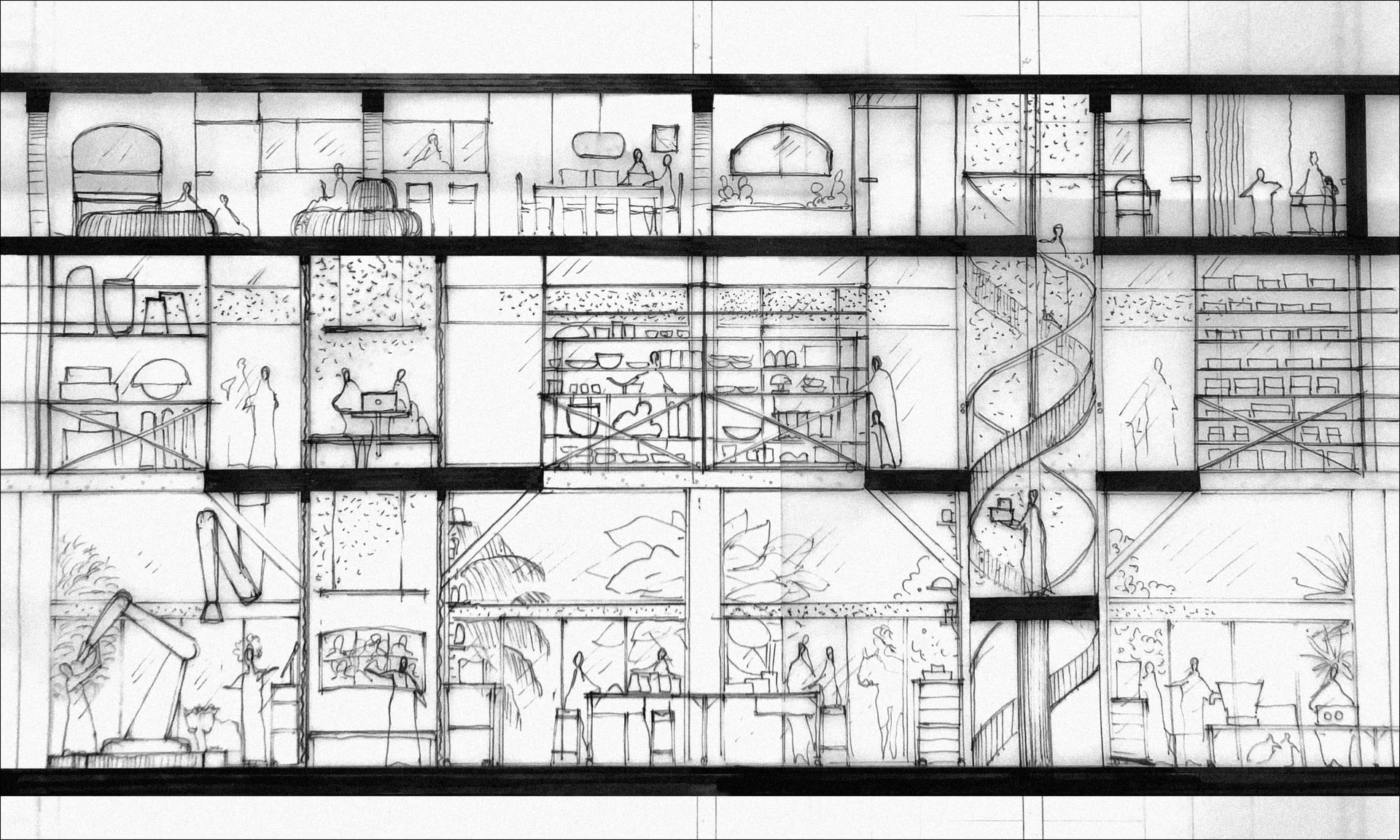 The Work/Shops: Strip Section - Pen on tracing paper (80 x 29.7 cm)