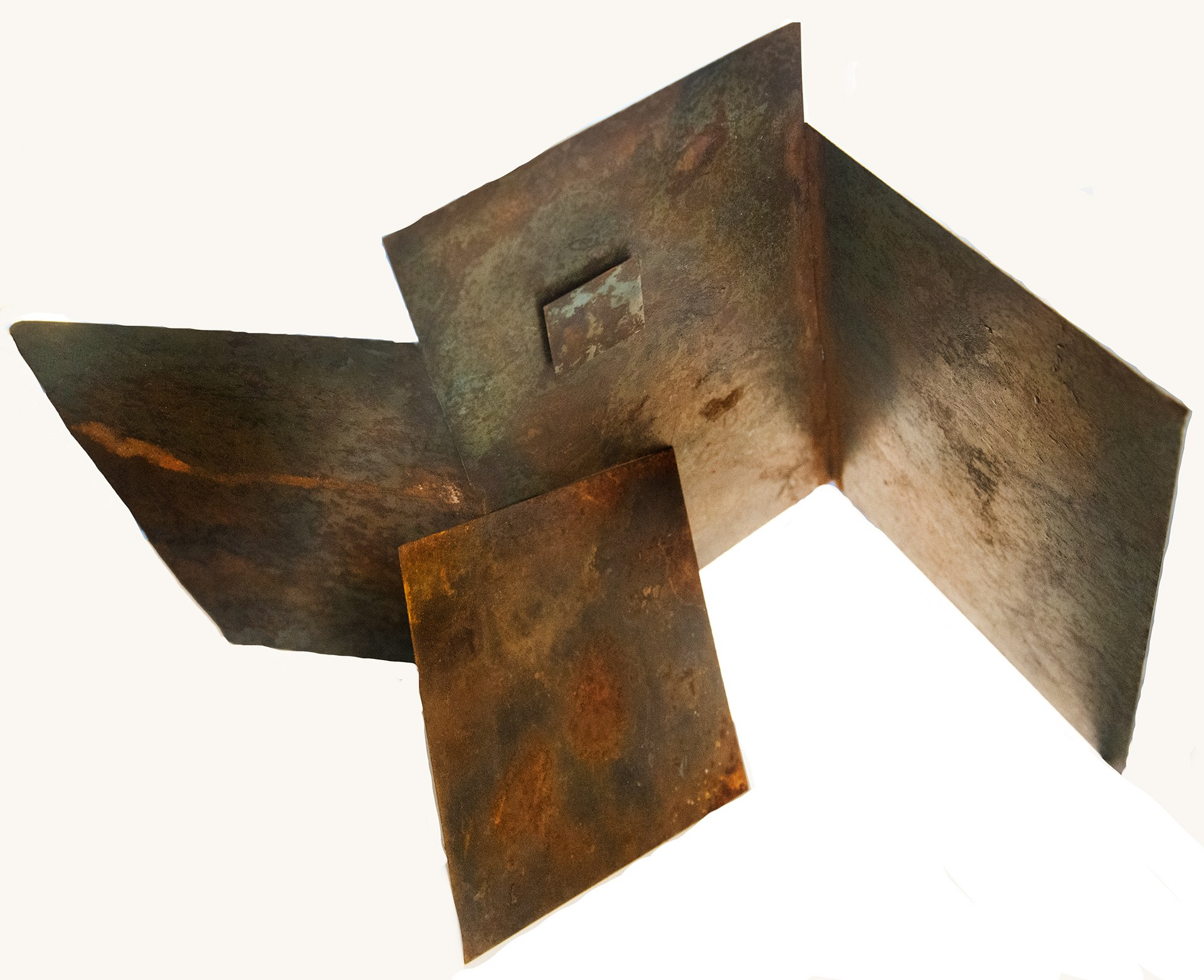 SYMBIOSIS IV and leaning panel: h36cms.w50cms,d17cms metal squares 5x5 cms