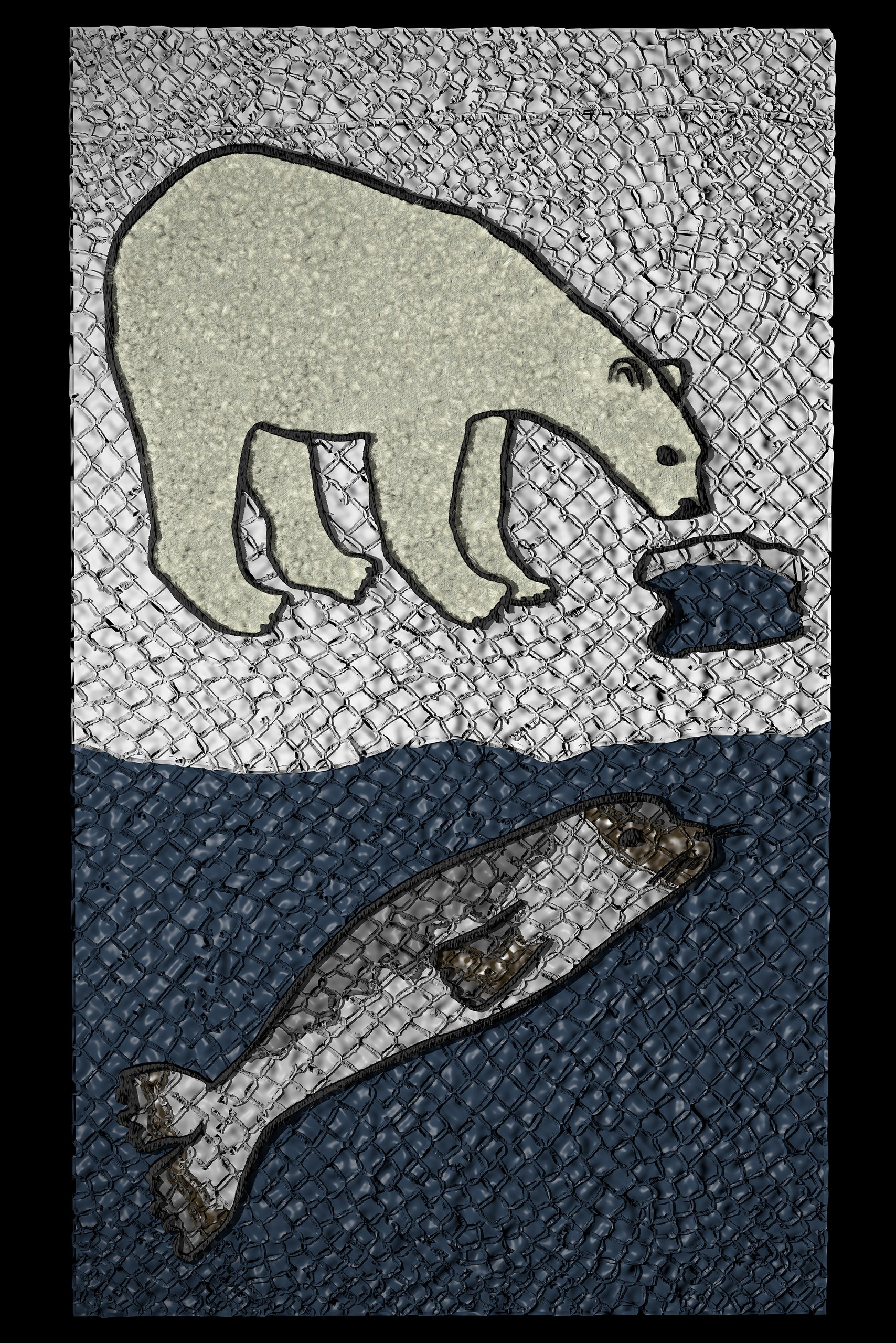 Embroidered patch on fish skin marquetry