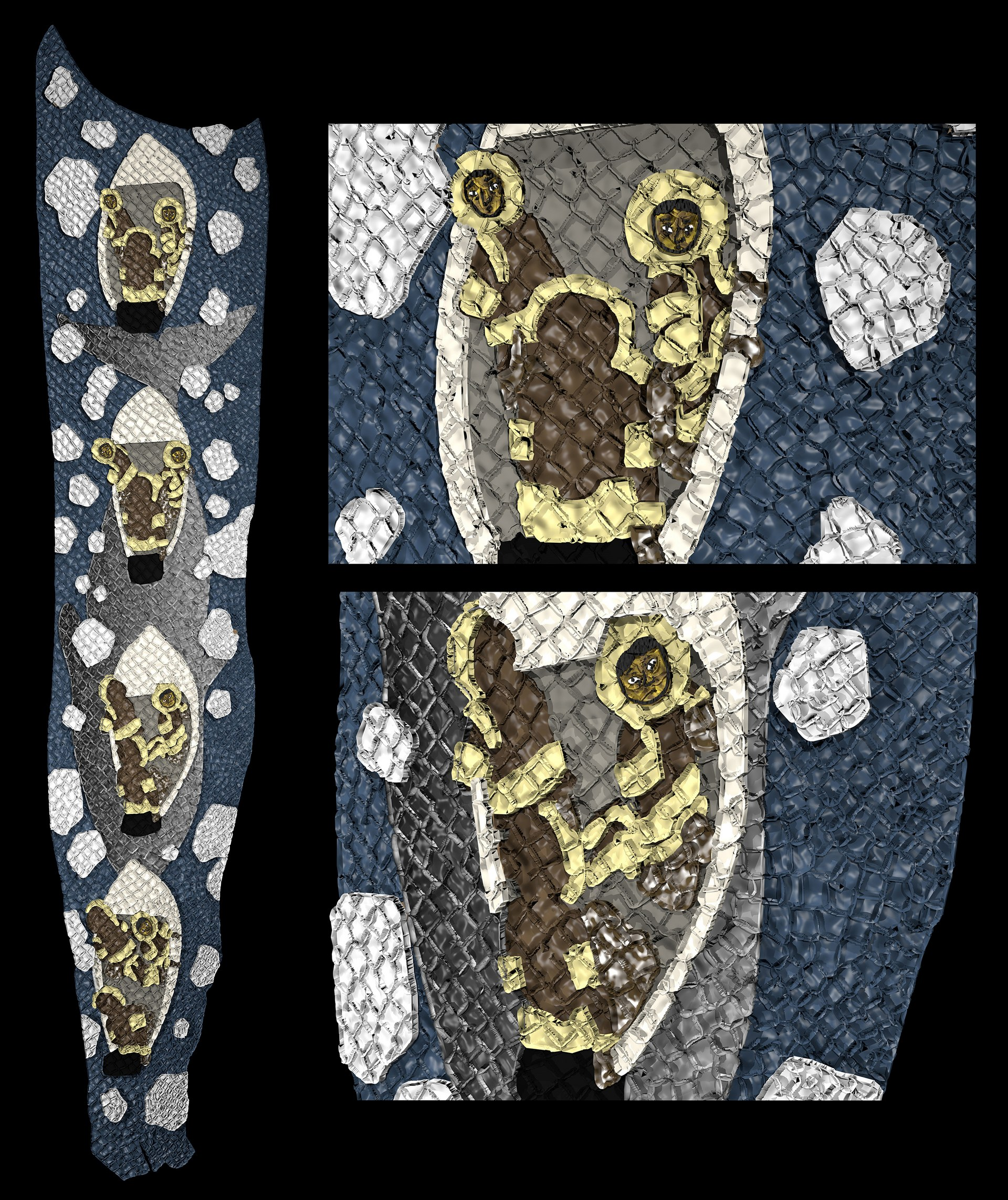 Fish skin marquetry and embroidered details
