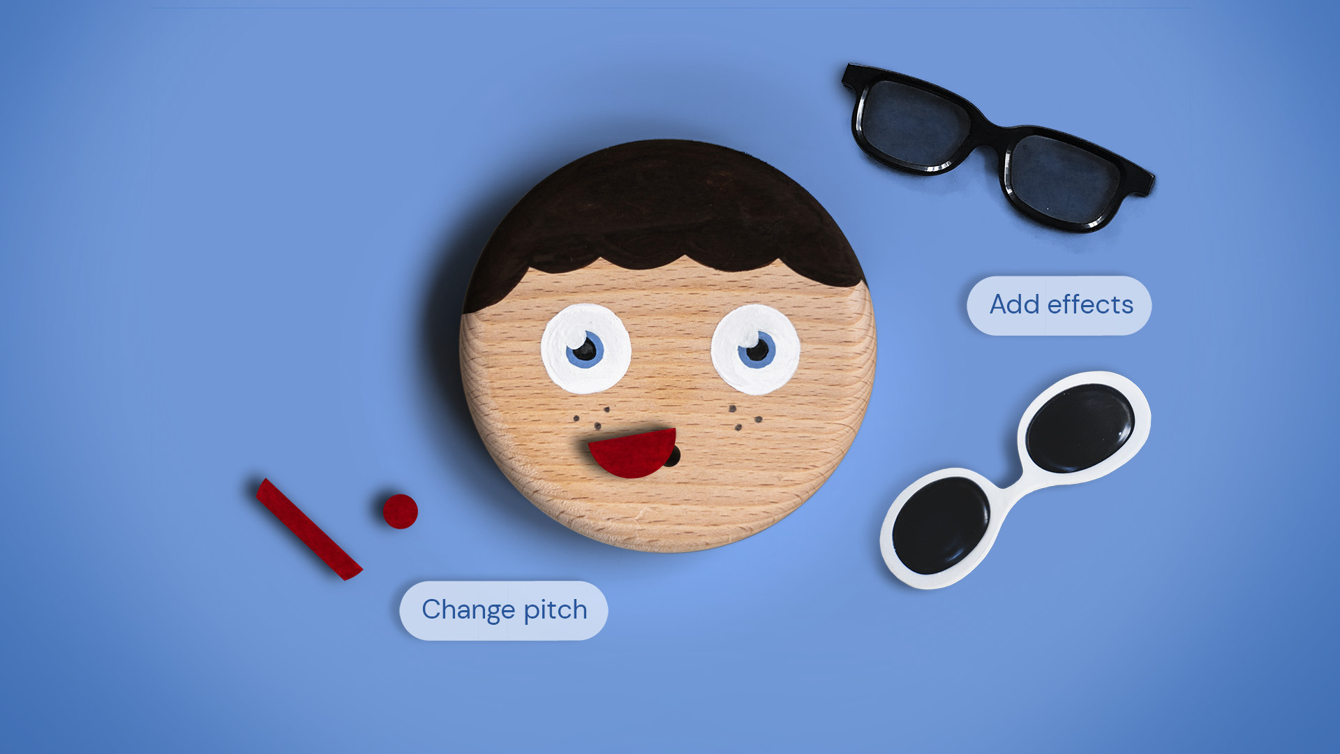 Accessories can be swapped out to manipulate the recordings, incorporating concepts from play and music therapy.