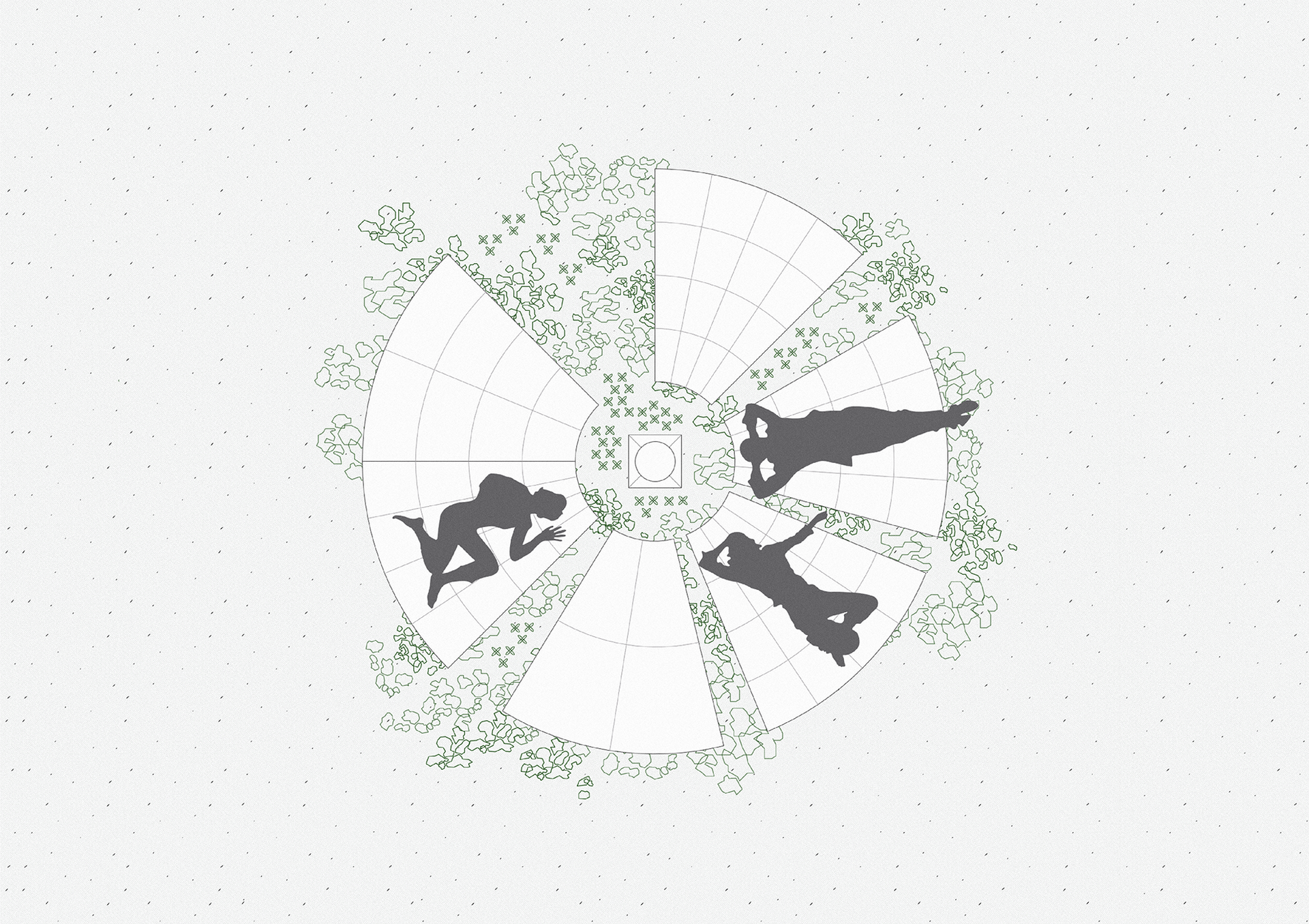 Circular positioning of the mats aims to connect and bring all species together in the space