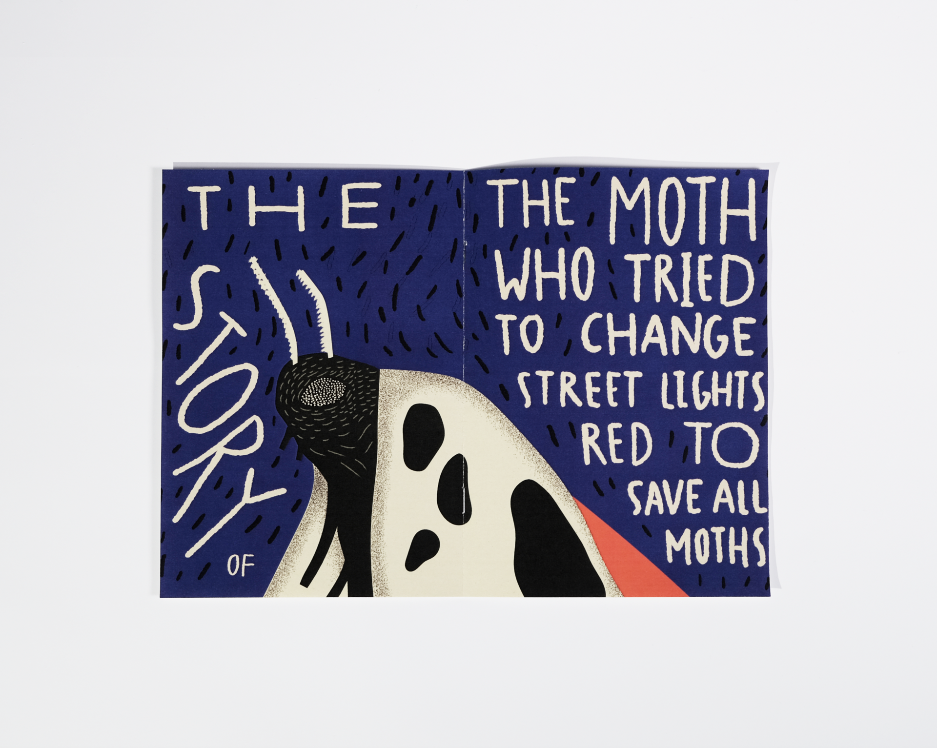 The booklet includes an illustrated short story of the last moth that questions our use of outdoors lights