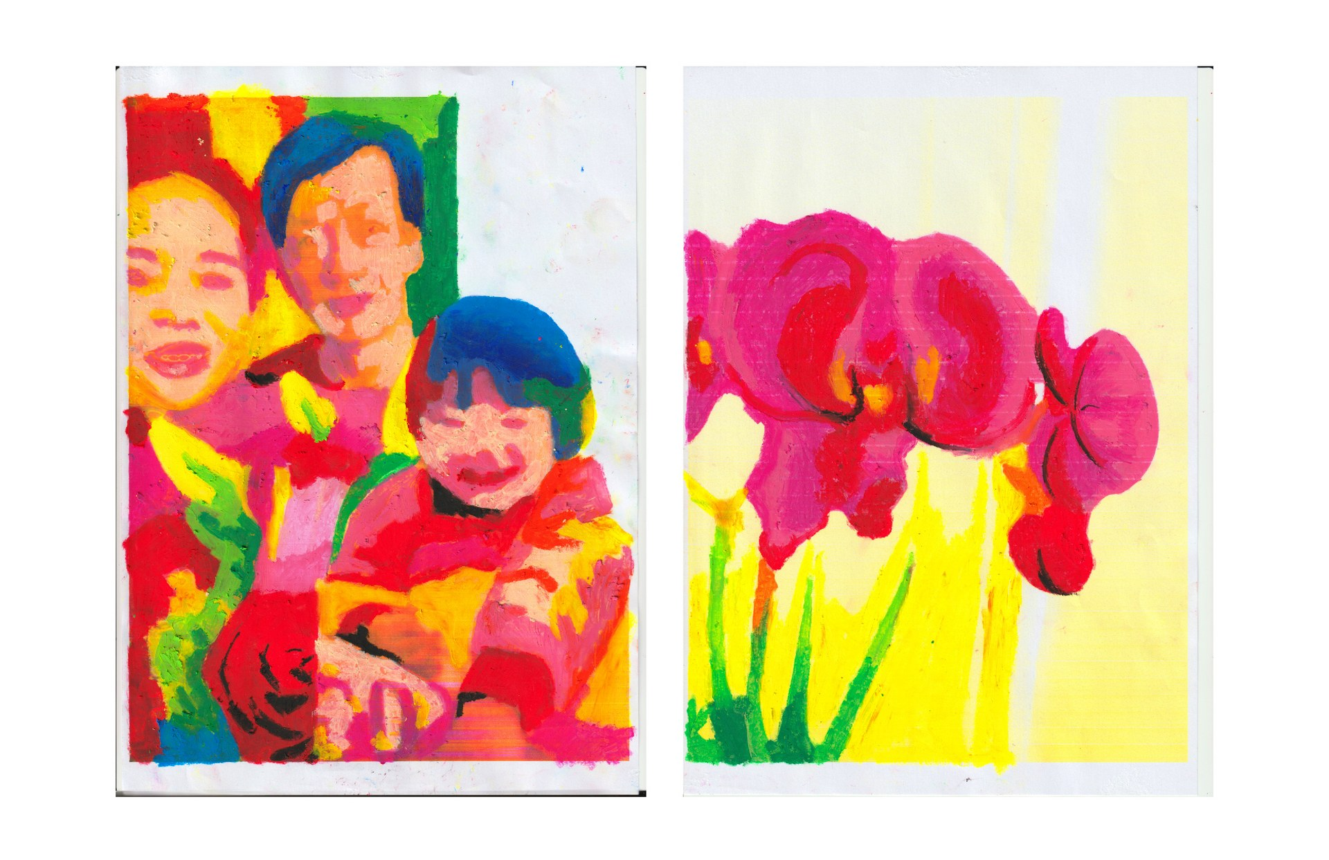 [drawing of my parents, niece, sister, and orchid]