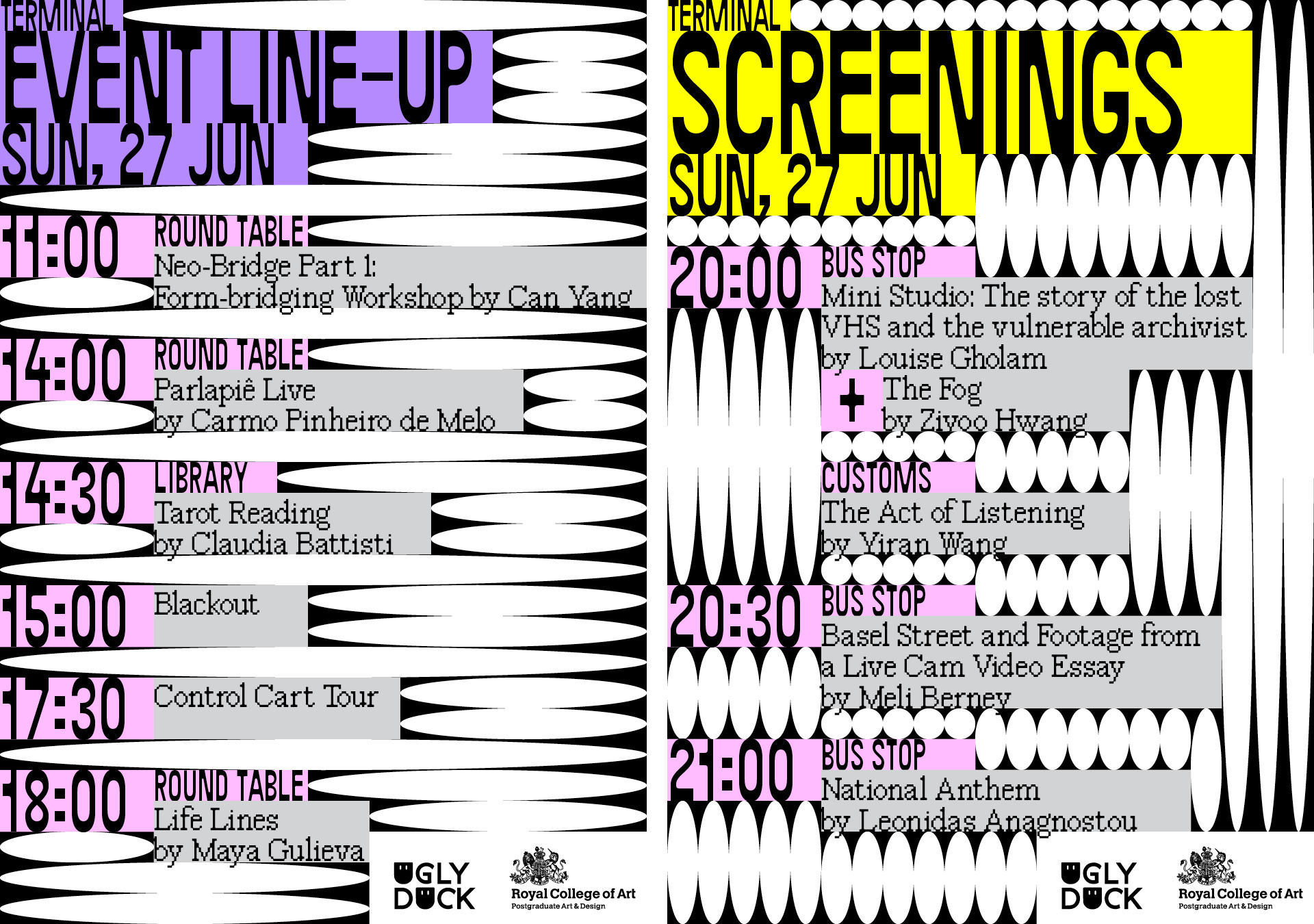 Timetable for events and screenings