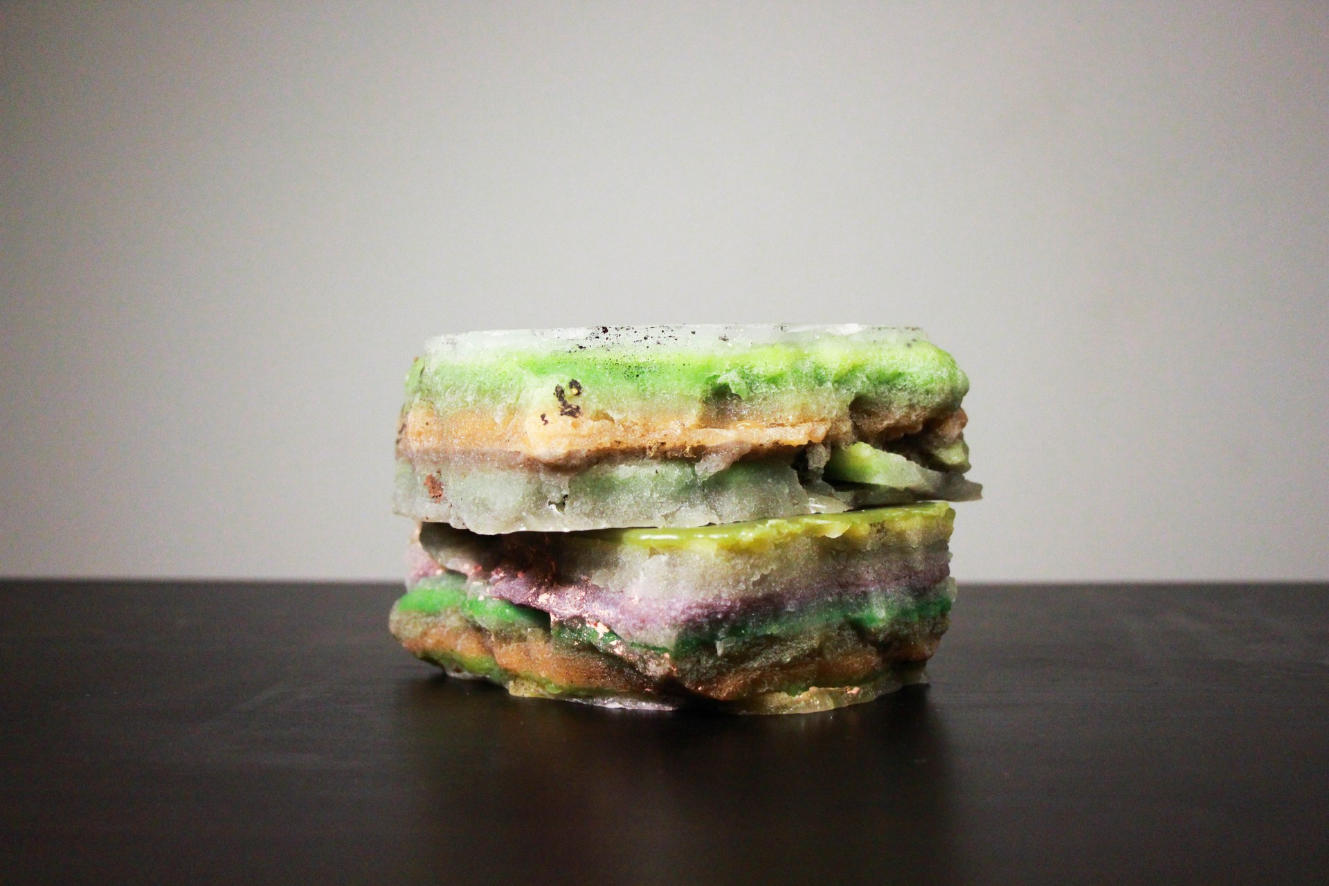 The Layered Rock-Making Outcome (Documentation), art object, 90x170x140 mm, paraffin, crayon, acrylic paint, 2021