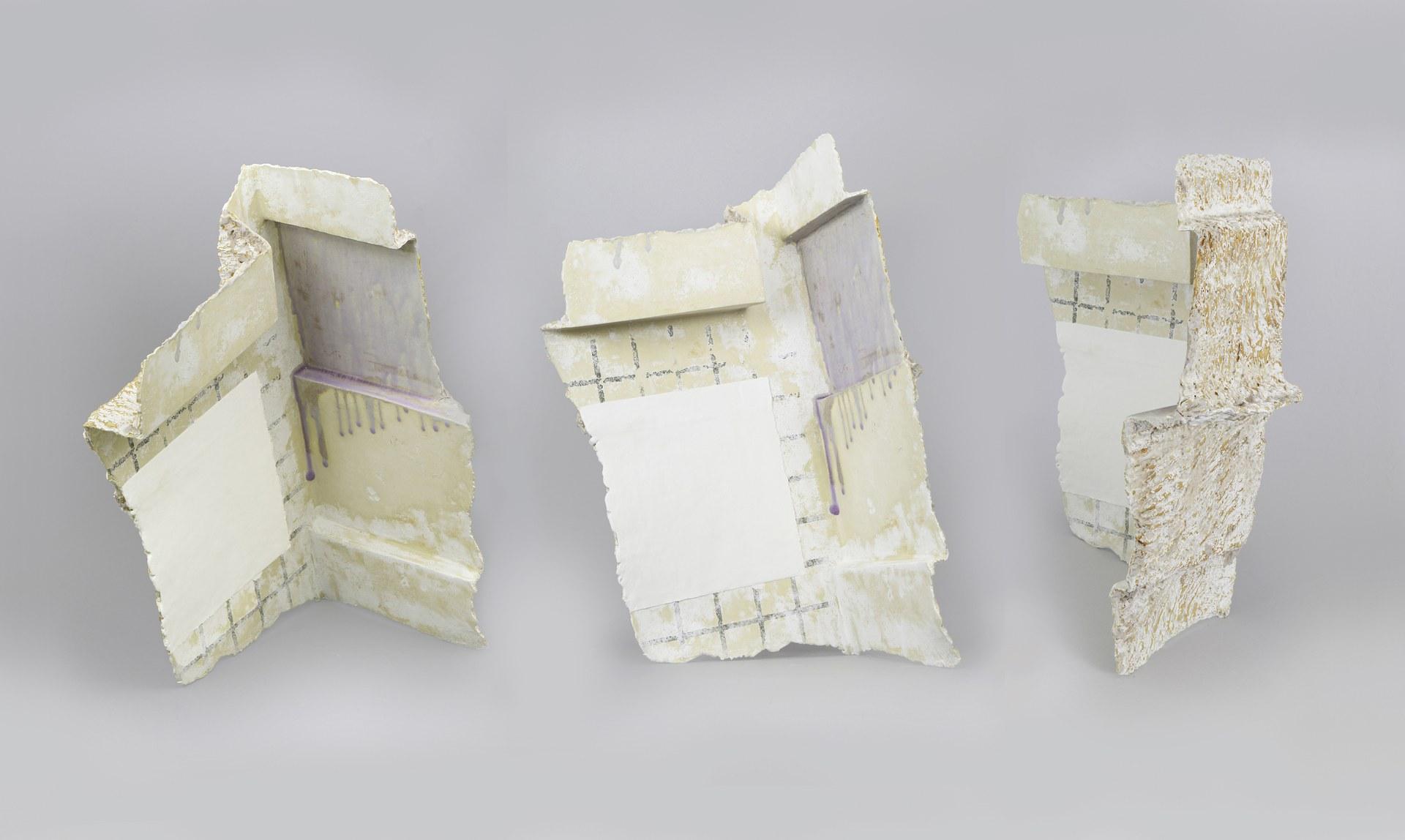 Corner Tribulations (three views), 2021, 50cm x 30cm x 28cm