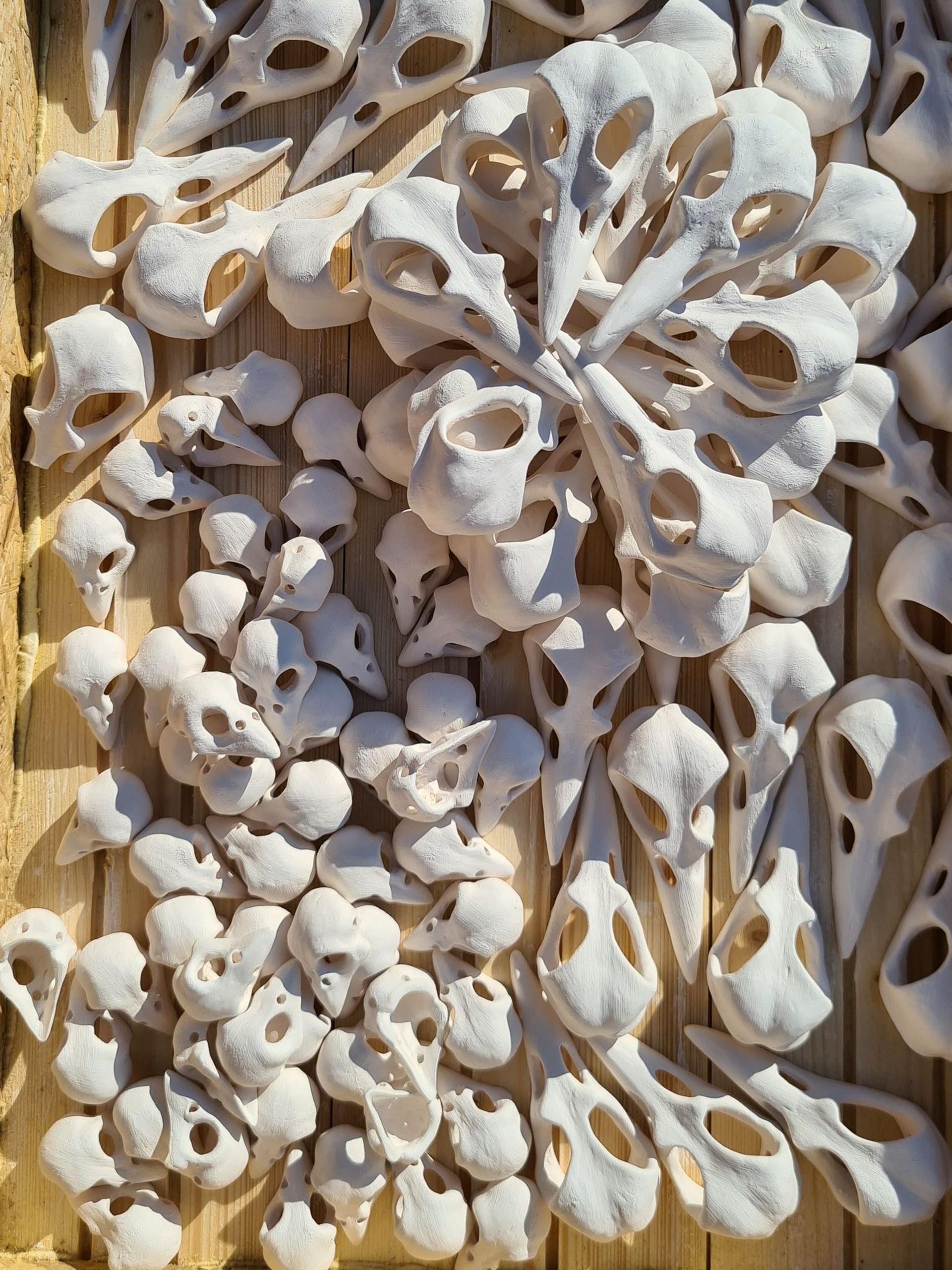 Work in process unglazed white stoneware.