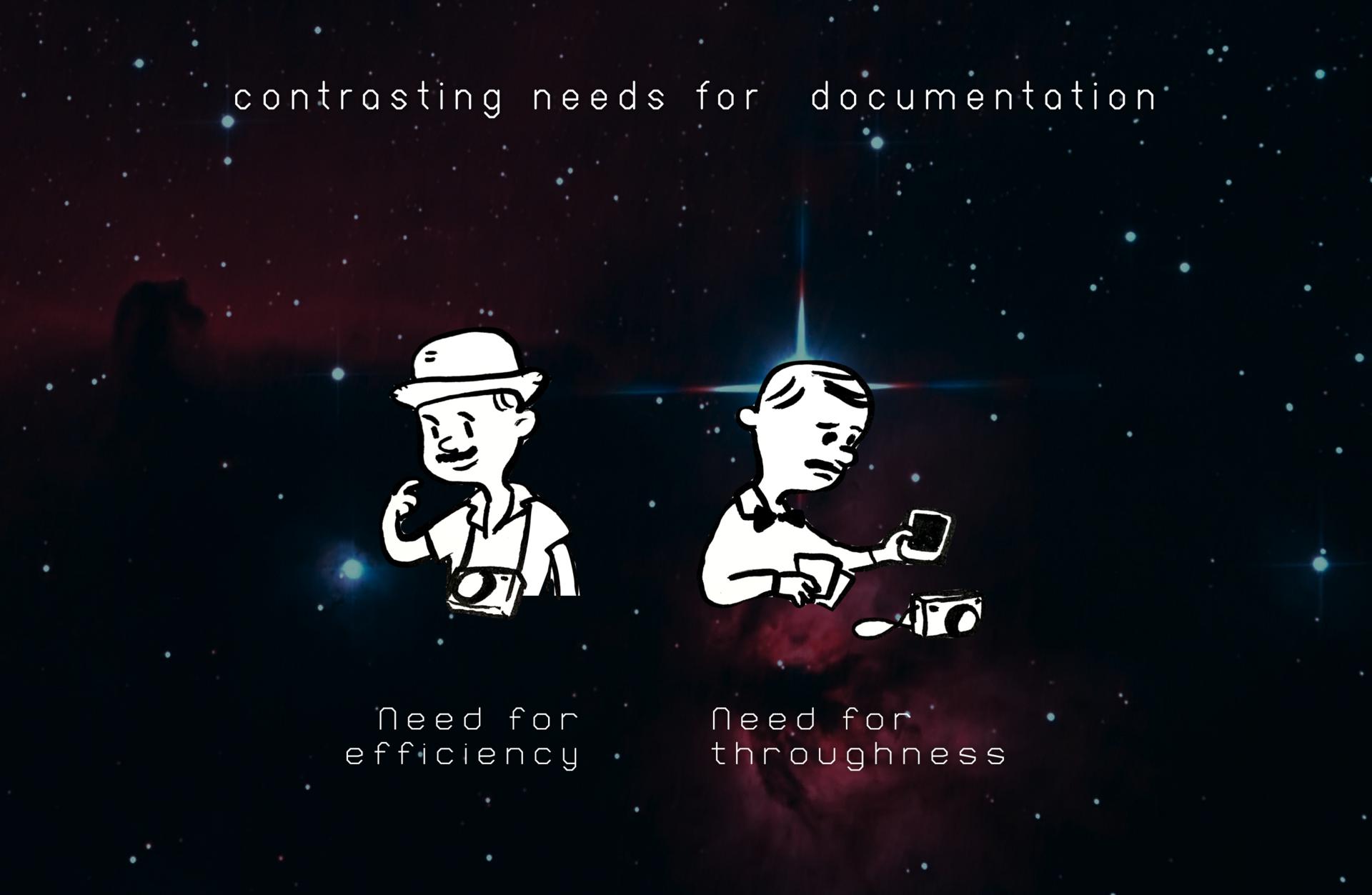 Contrasting needs for documentation