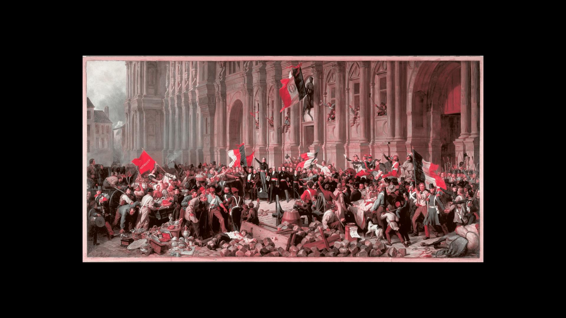 Lamartine Rejetant le Drapeau Rouge by Felix Philippoteaux (Recoloured Red & Black)