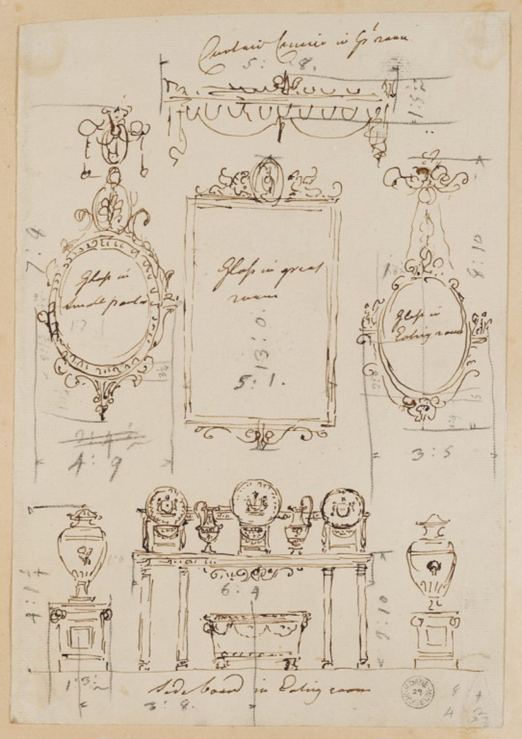 'Rough preliminary drawing made for publication for various items of furniture', including the sideboard