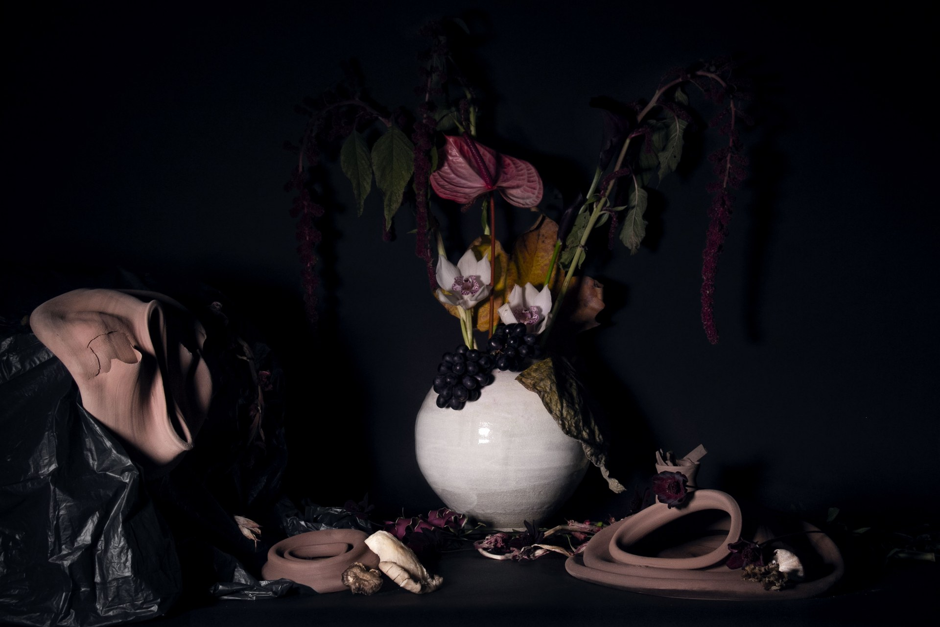 Flower and collapsed moon jars_Across RCA_2019