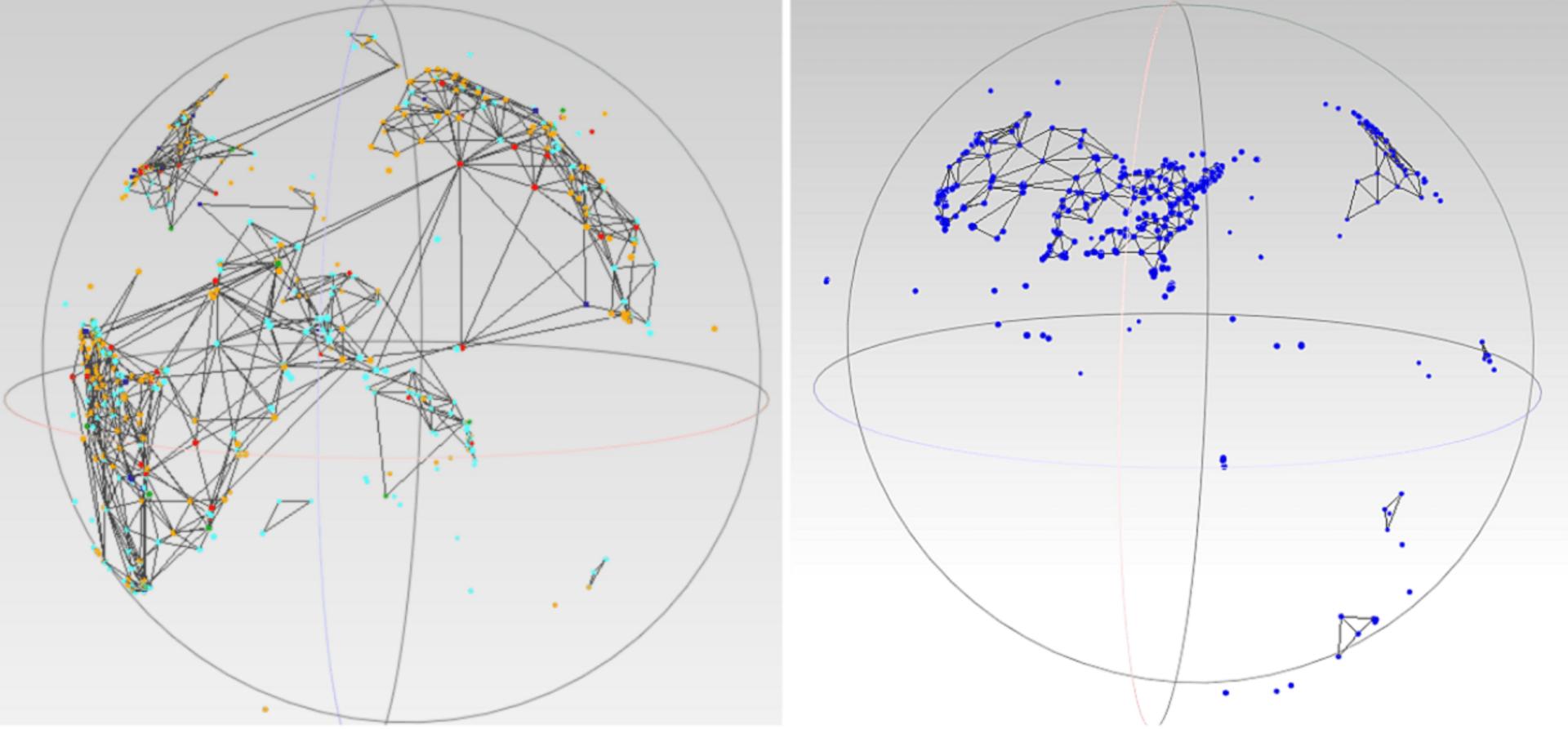Mycelium mesh, a visualization of communication networks