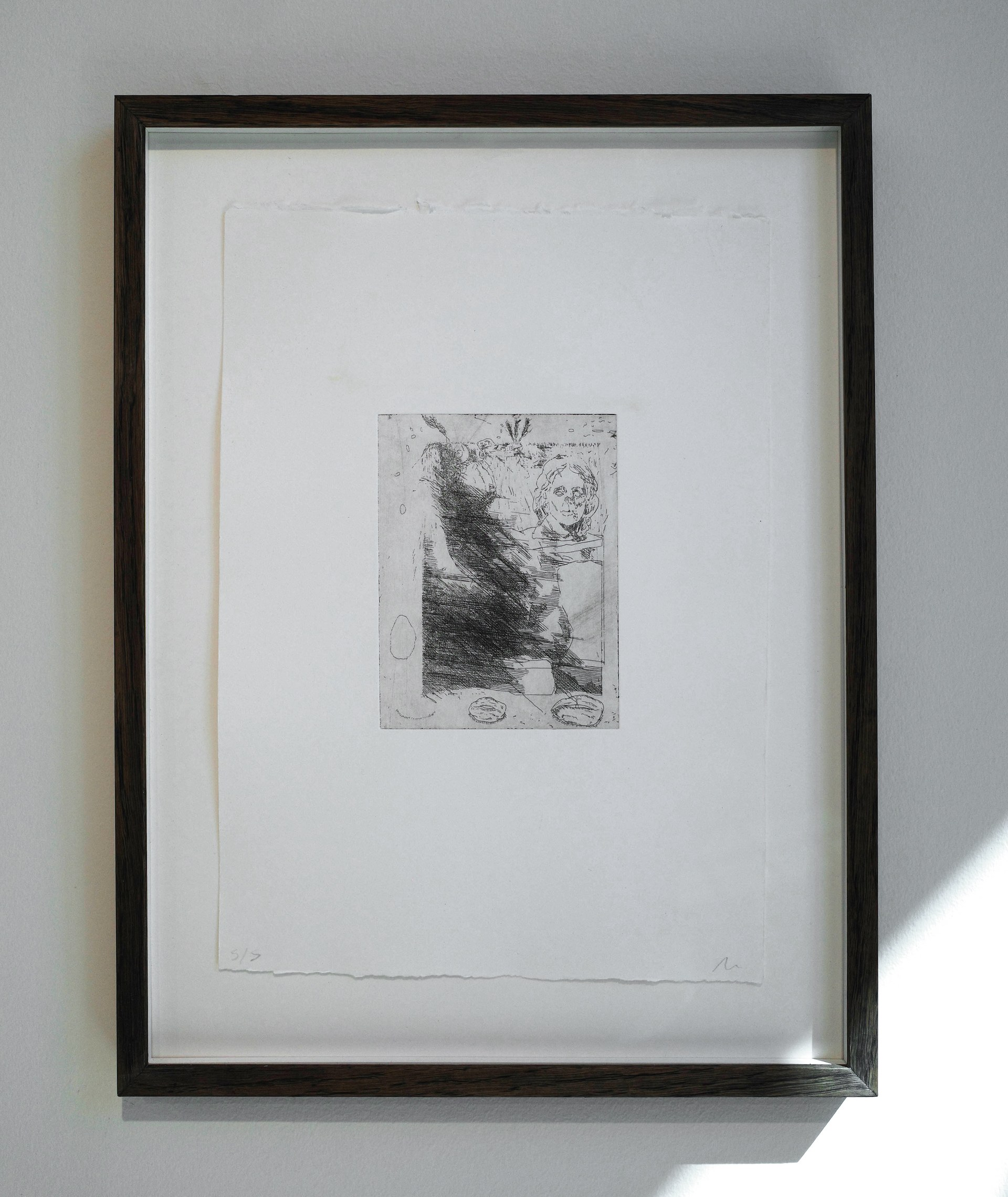 Detail of 'collaborative etching #1', etching on cotton paper
