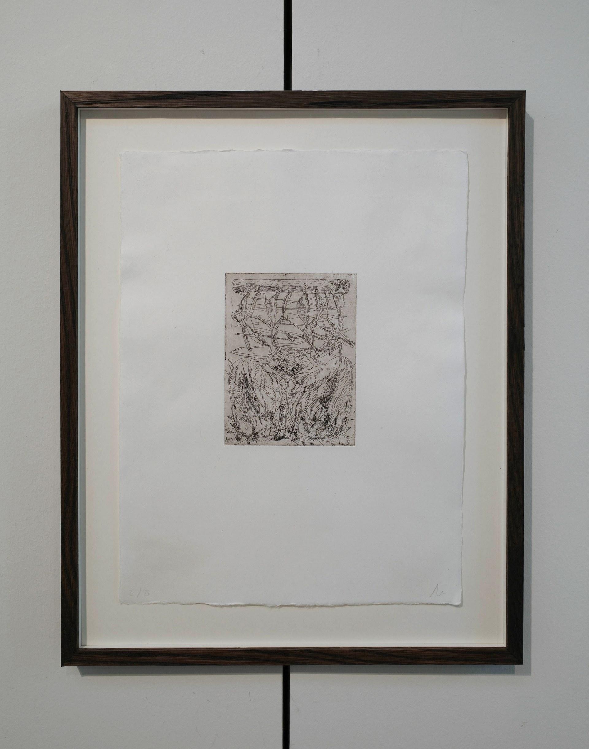 Detail of 'mennesket, amfibiet', etching on kozo paper