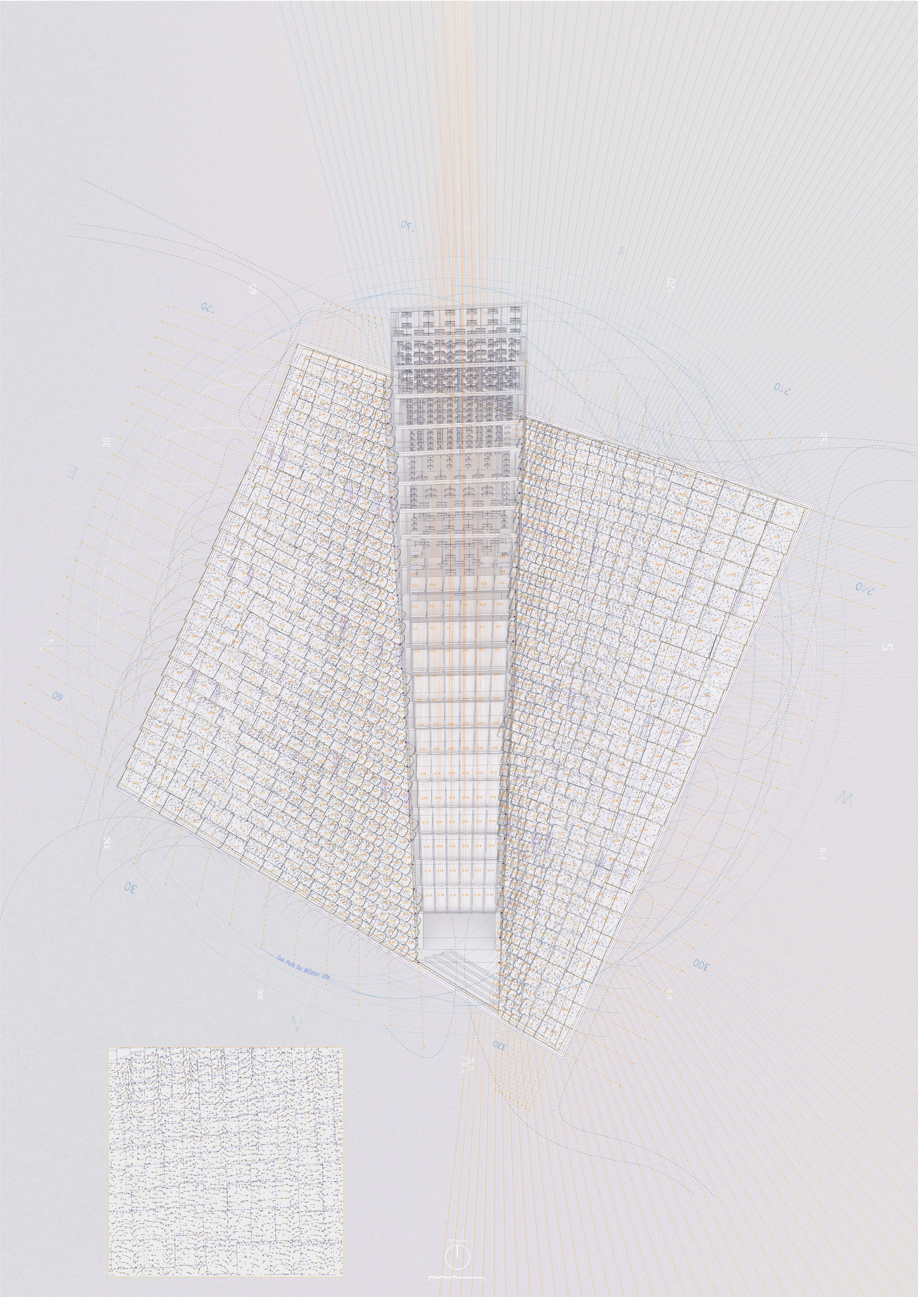 Roof axonometric and plan projection