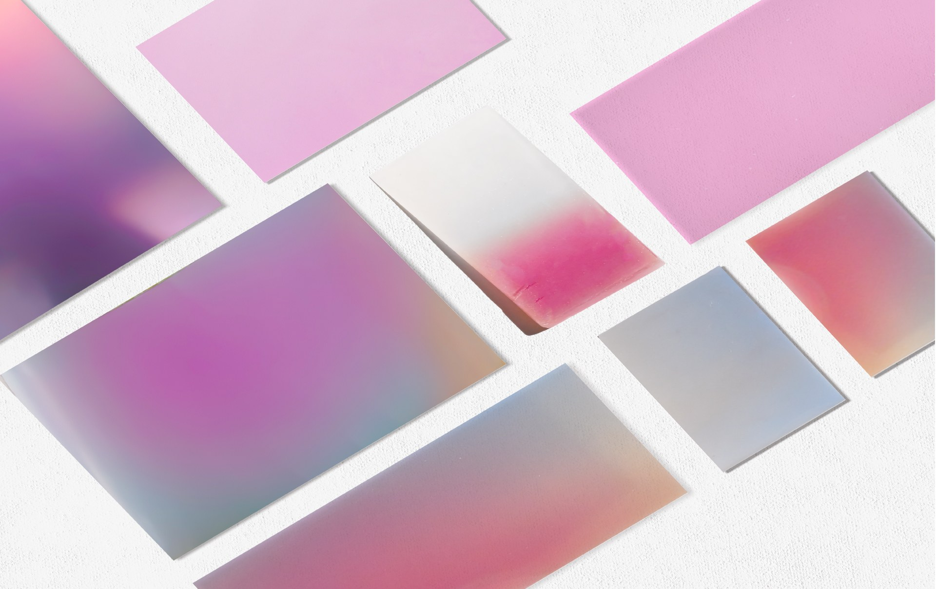 Found materials, natural pigments, bio plastics.
