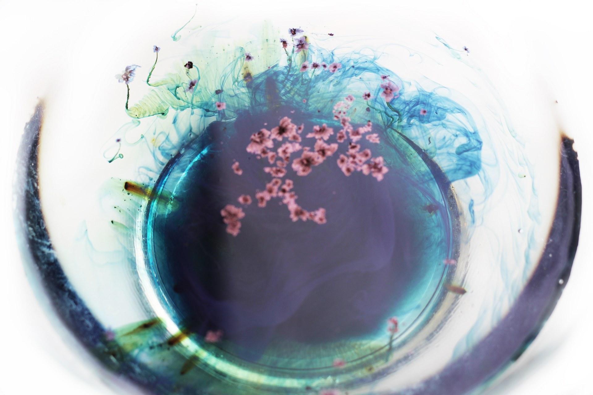 Indigo bath with flower patterns once powder submerges water