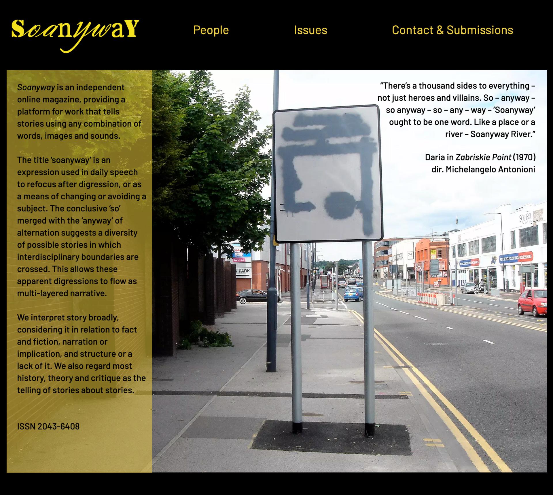 Soanyway Magazine homepage