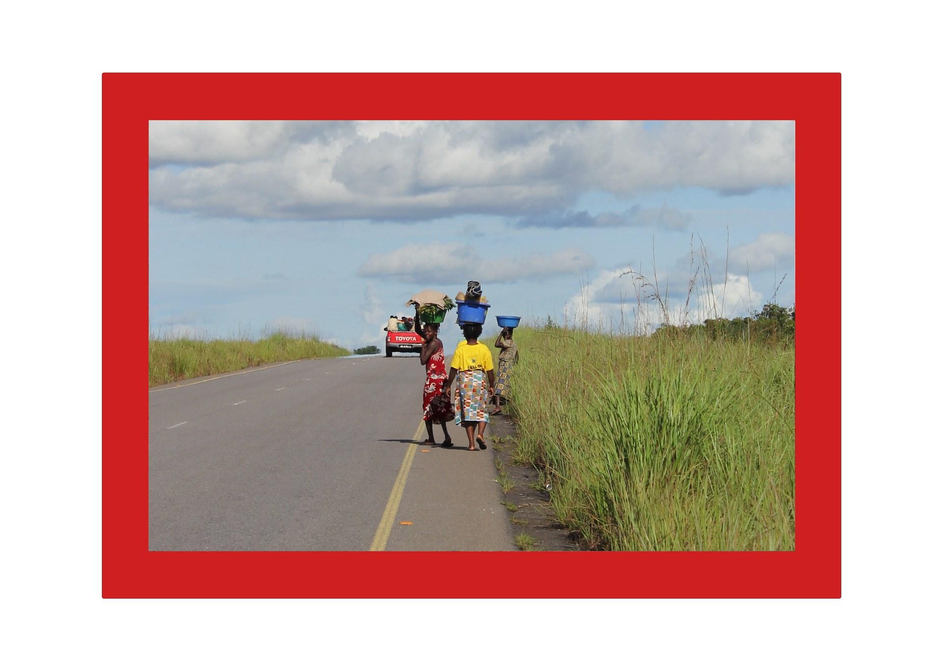 Road in Chitato, Lunda Norte, Angola (plastic basin 1)