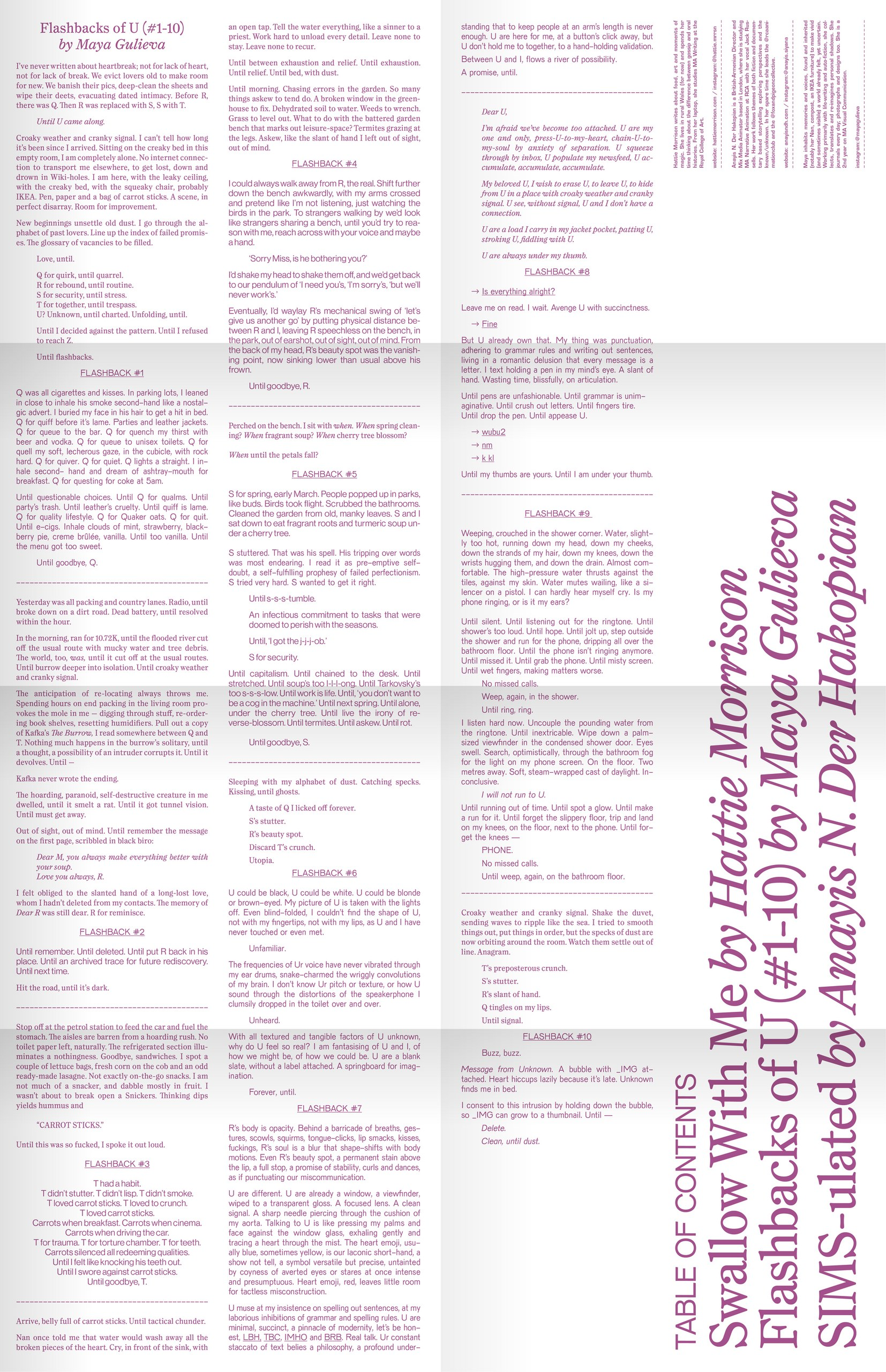 Flashbacks of U (#1-10) laid out in ARC:Proxyerotics Issue 5: Linger