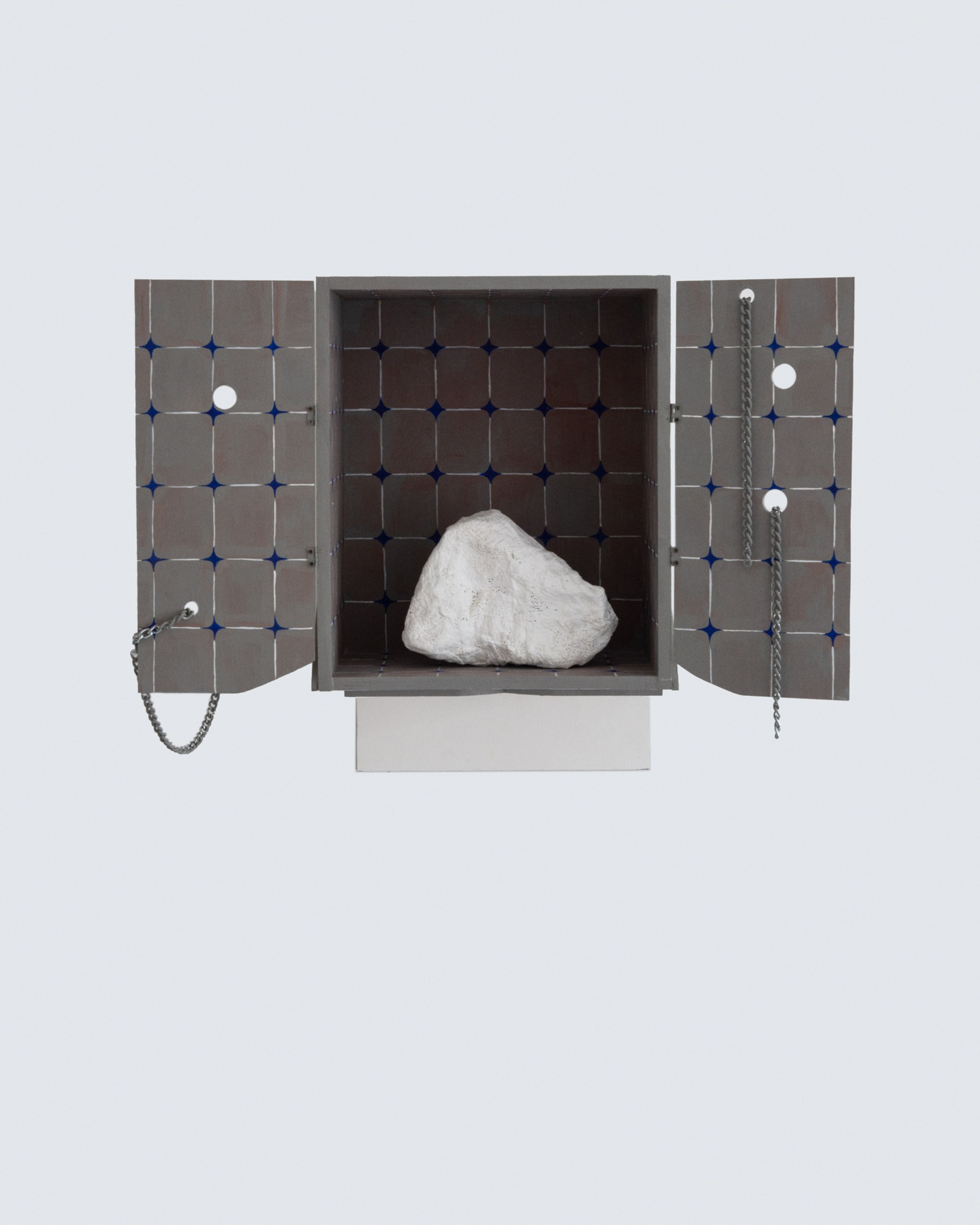 Moon Stone, 2020, Chain, chicken wire, hook, paint, plaster, plywood