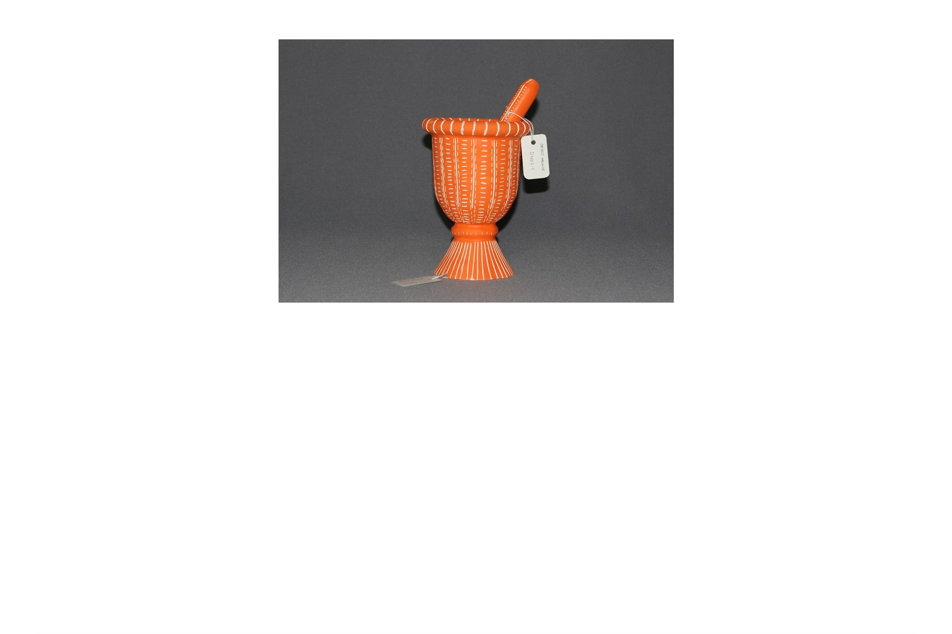 Object type: mortar and pestle Archive number: D1002 Dimensions H: 19cm W: 13.5cm D: 13.5cm