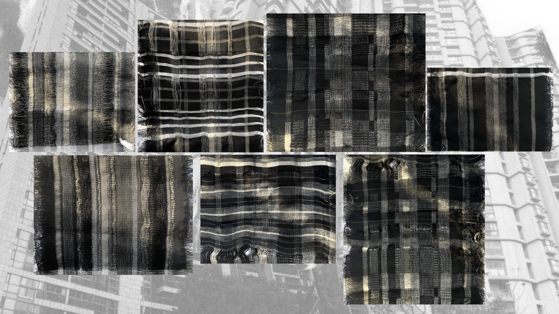Hand-woven samples with sunlight