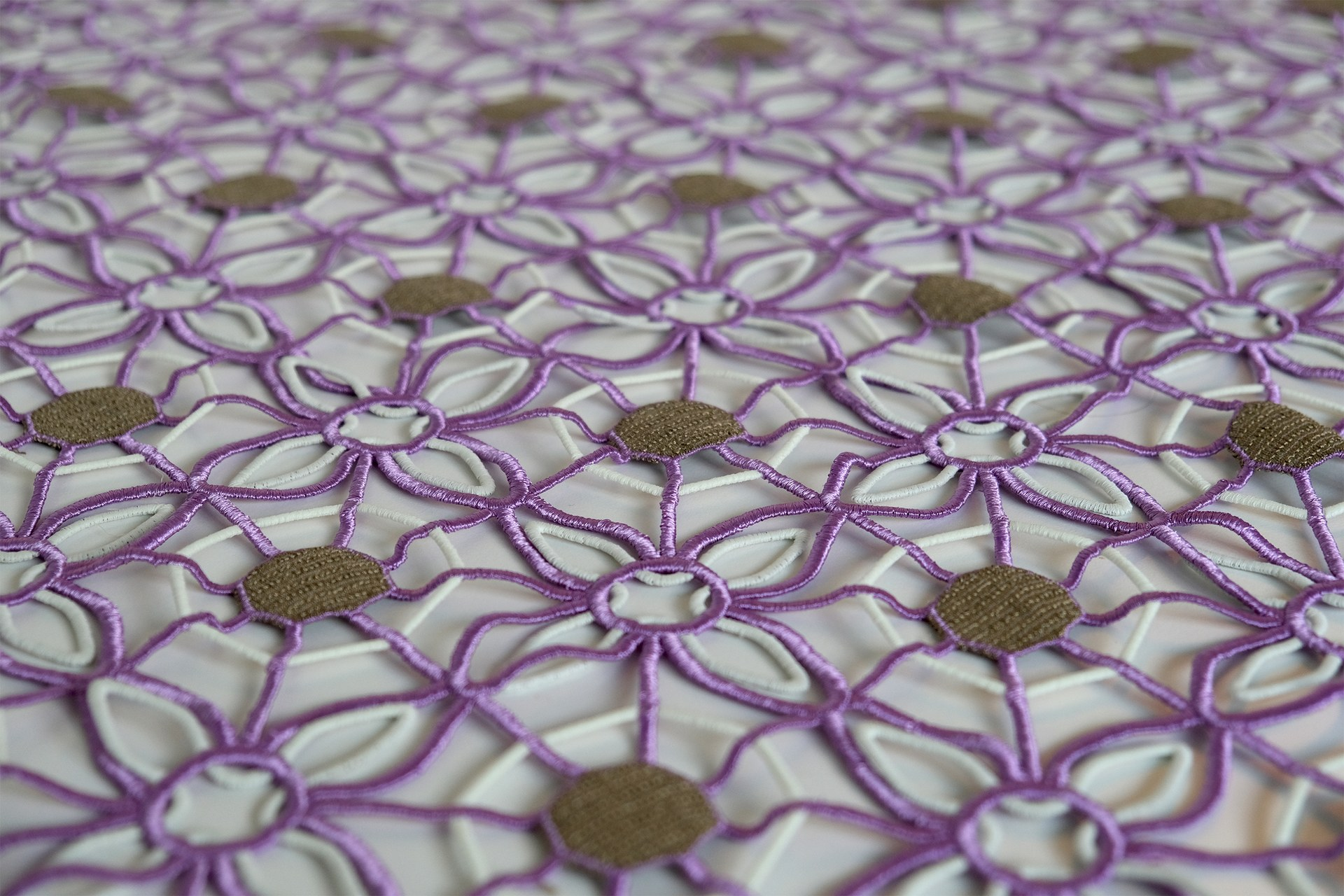 Large scale embroidery pattern with embedded electronics