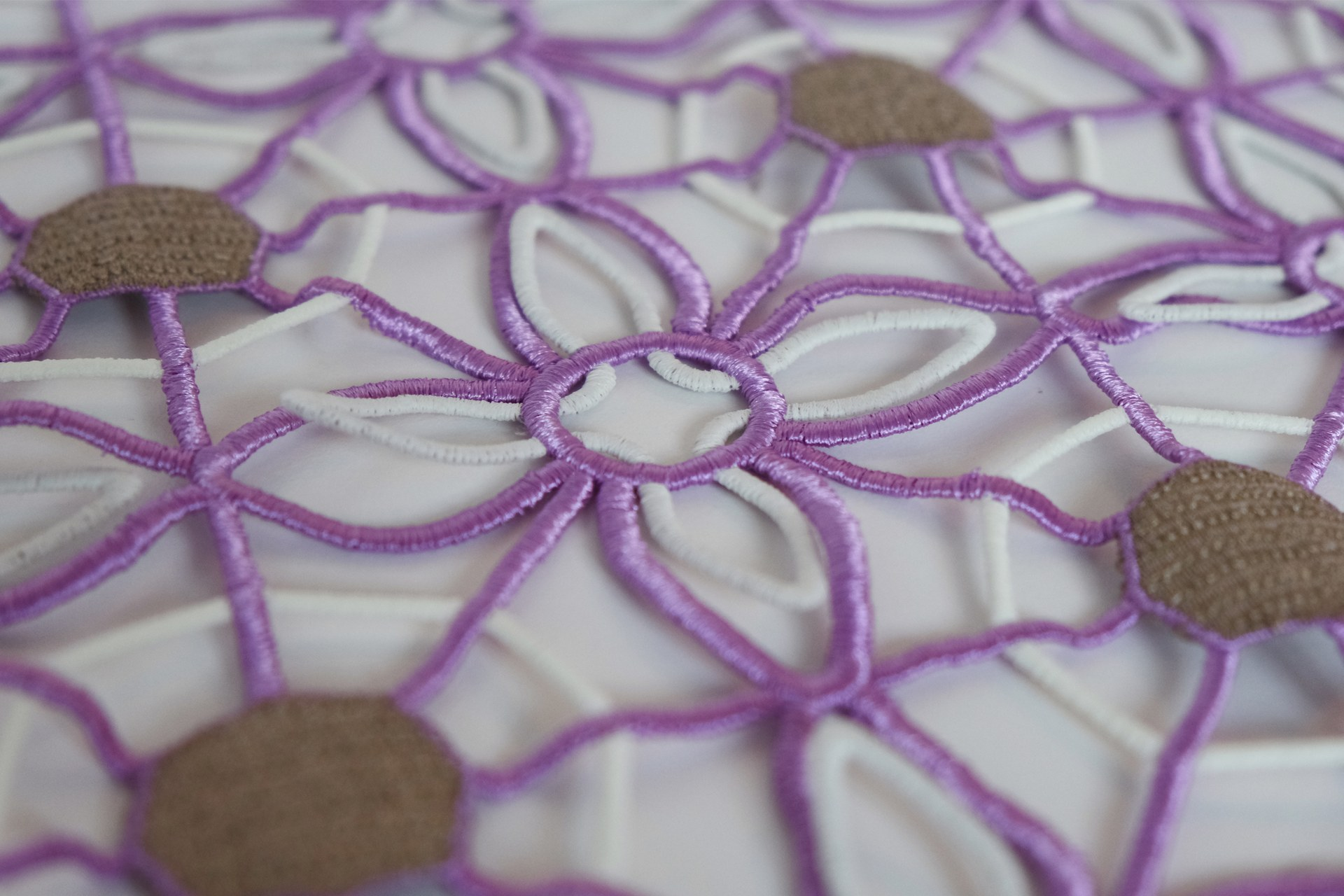 Detail: flower shape repeated pattern with 3 types of embroidery thread. Designed to allow movement of the patels